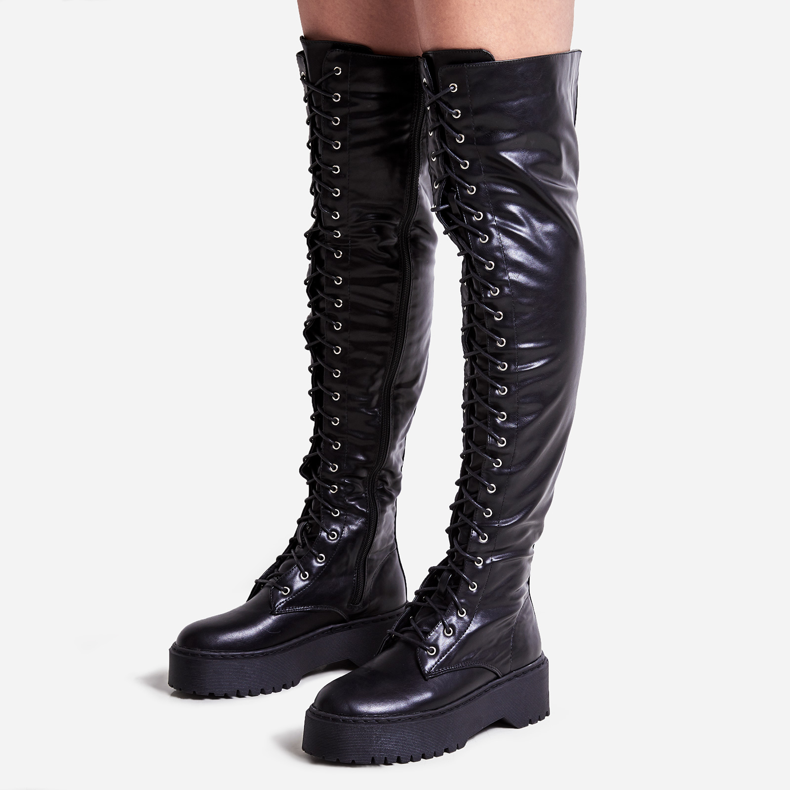 Bounce Lace Up Thigh High Long Boot In Black Faux Leather