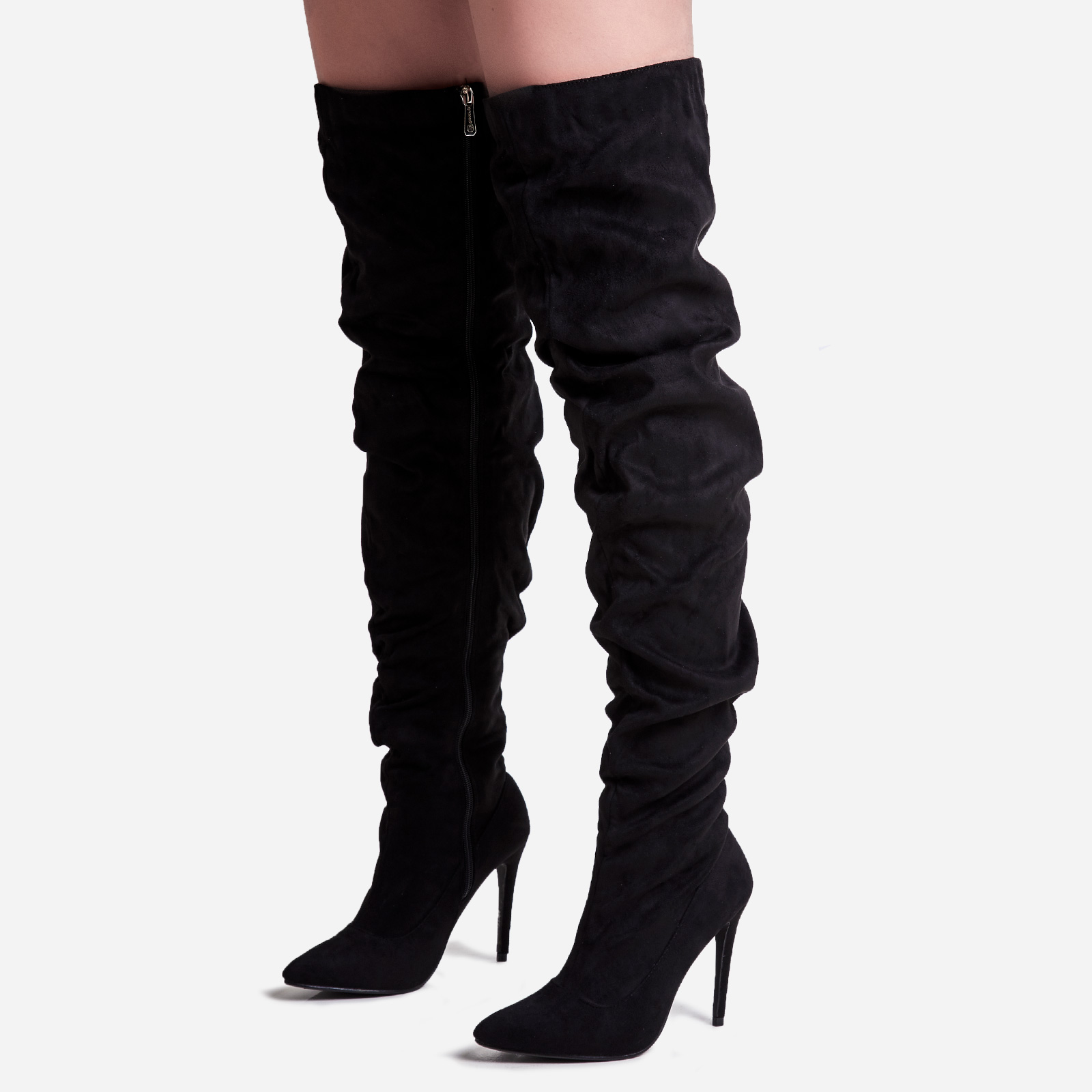 Popcorn Slouched Thigh High Long Boot In Black Faux Suede