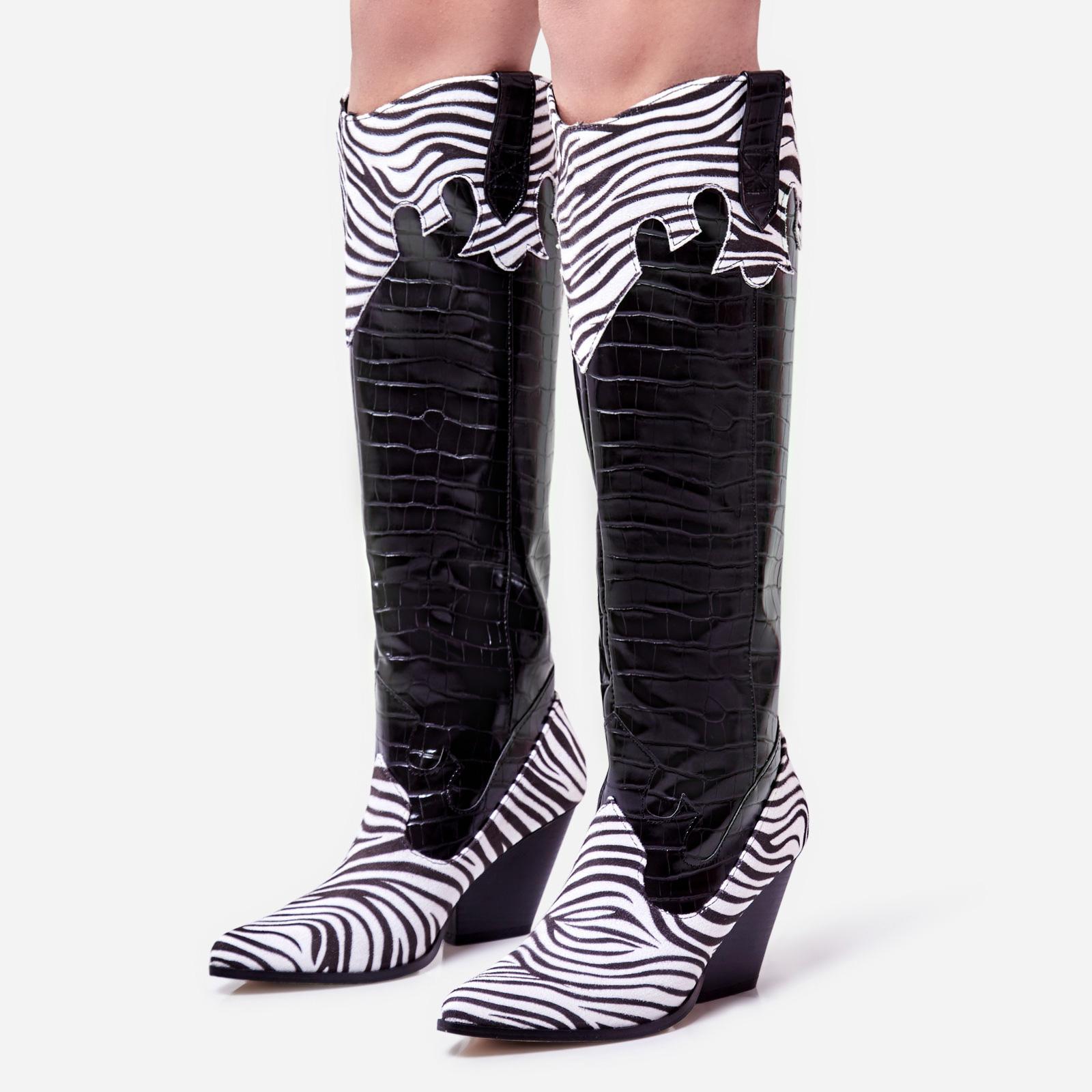 Callie Zebra Print Detail Knee High Western Long Boot In Black Croc Print Faux Leather