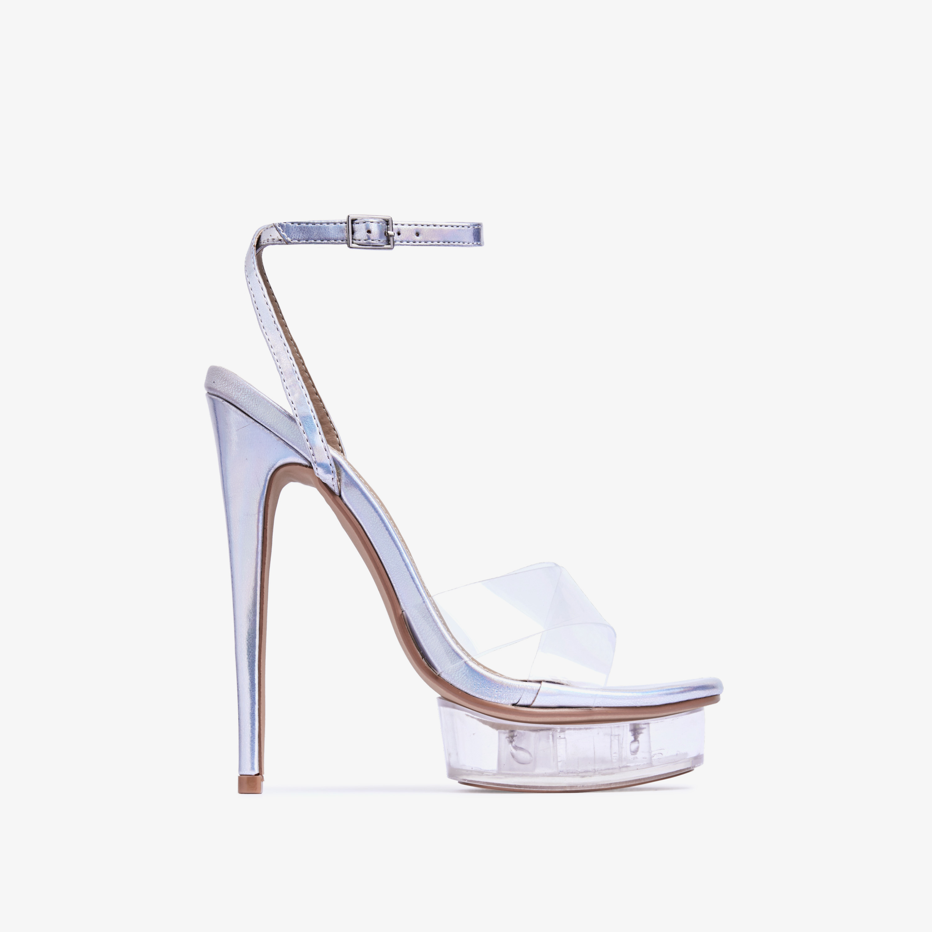 Smoking Barely There Perspex Platform Heel In Silver Holographic Faux Leather