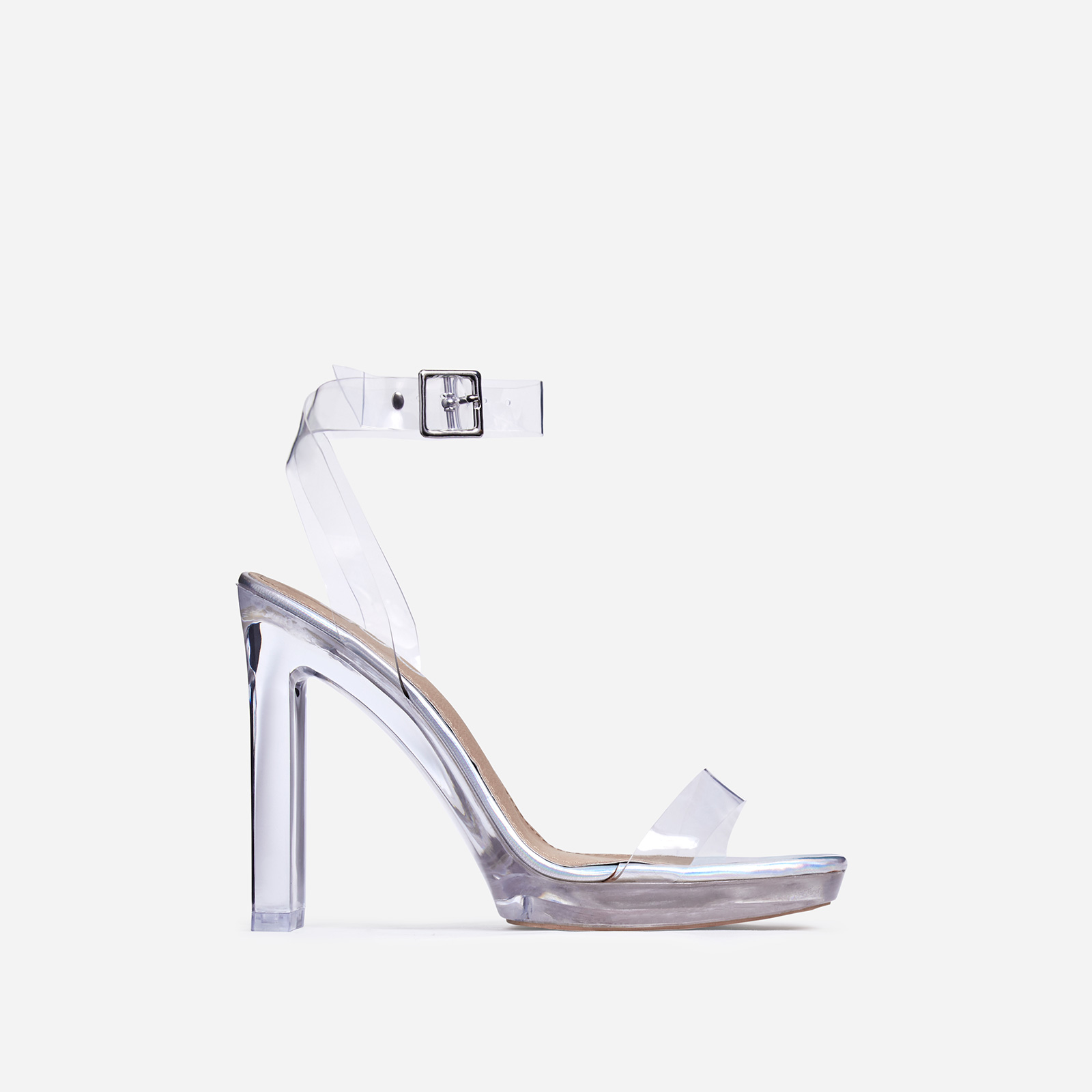 Icy Platform Barely There Perspex Thin Block Clear Heel In Silver Holographic Faux Leather