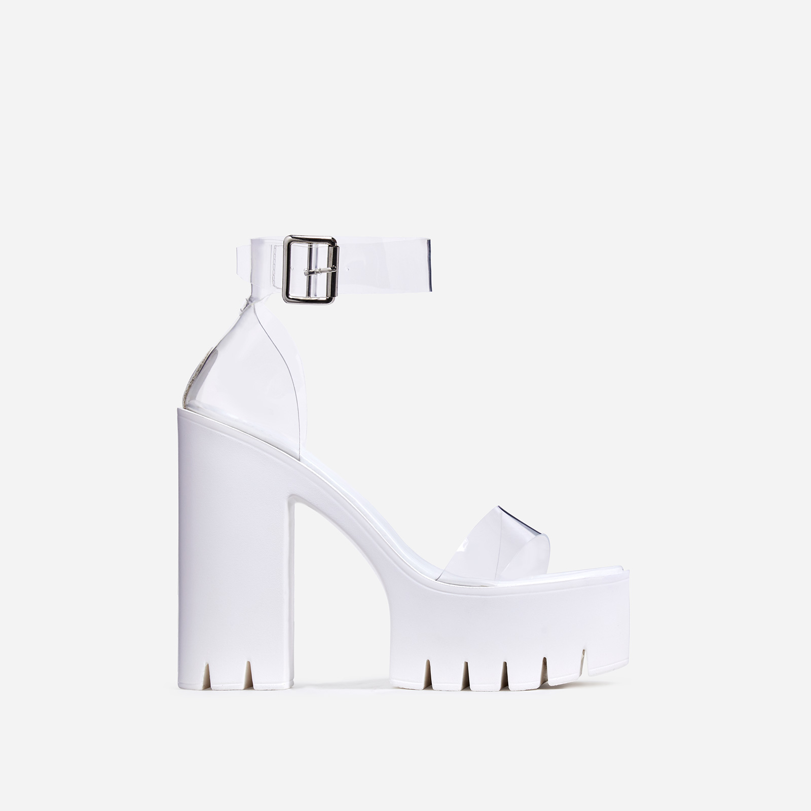 Stormi Perspex Platform Cleated Sole Block Heel In White