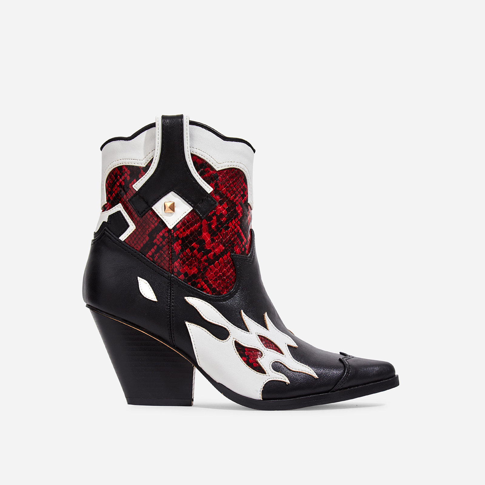 Hartley Red Snake Print Detail Western Ankle Boot In Black Faux Leather