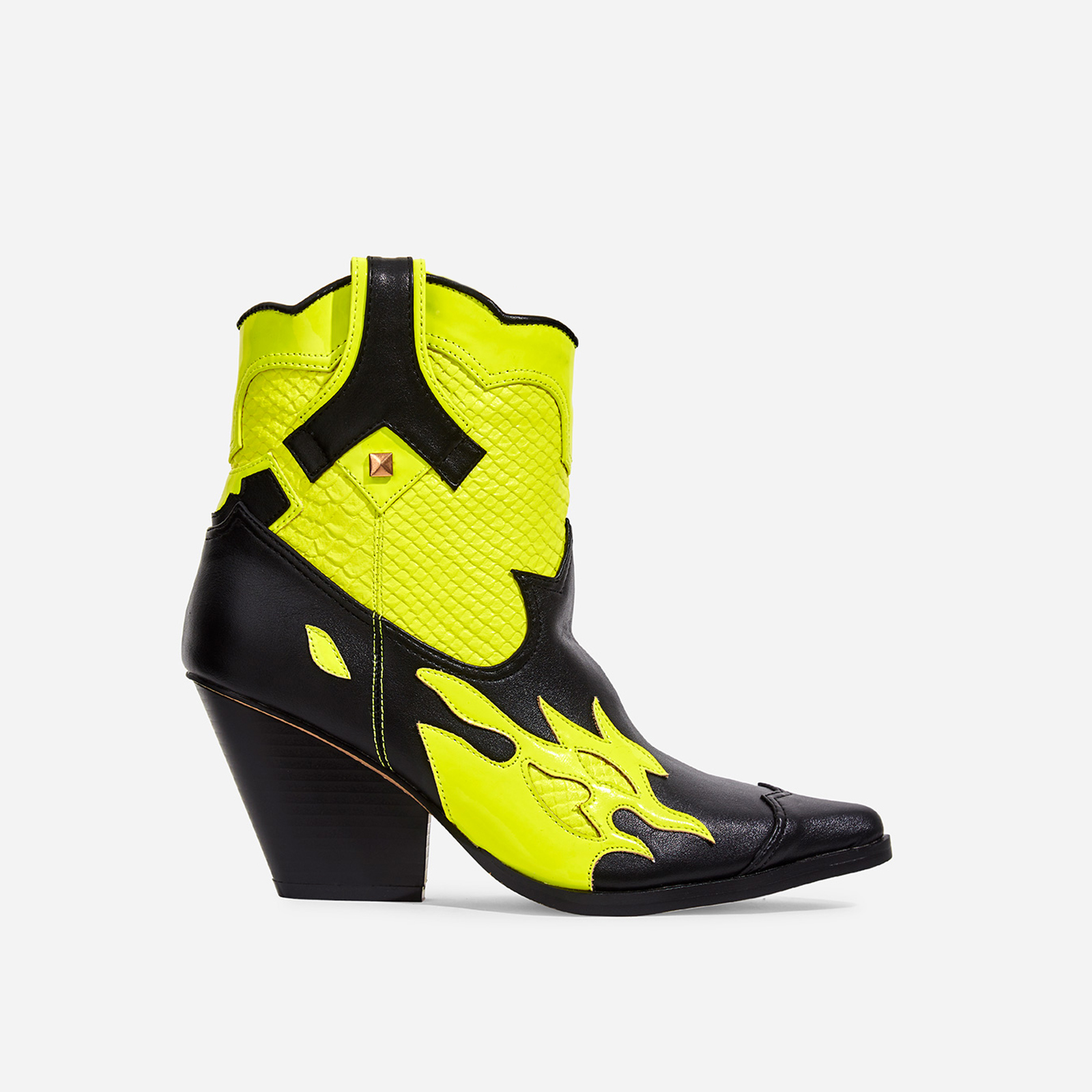 Hartley Yellow Snake Print Detail Western Ankle Boot In Black Faux Leather