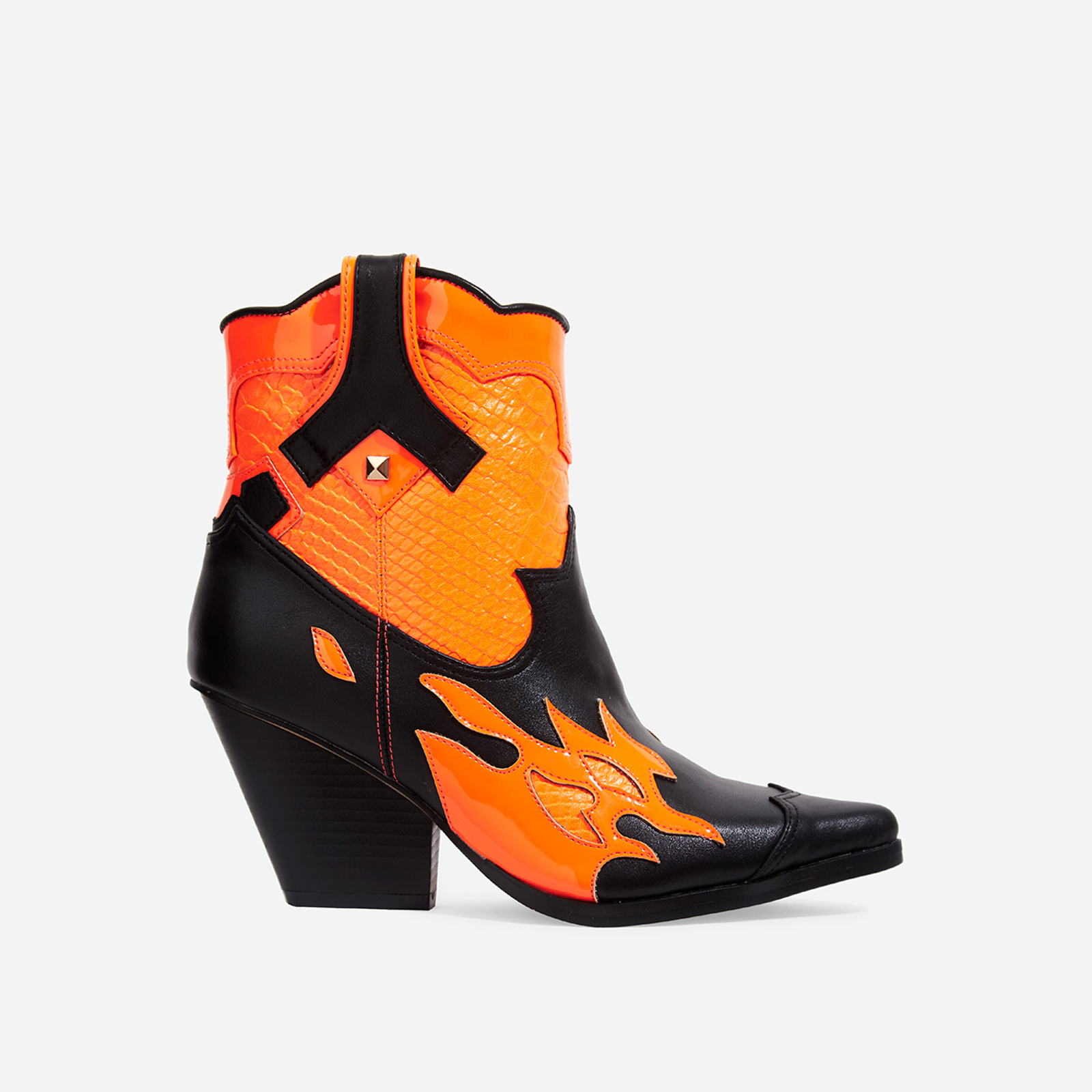 Hartley Orange Snake Print Detail Western Ankle Boot In Black Faux Leather