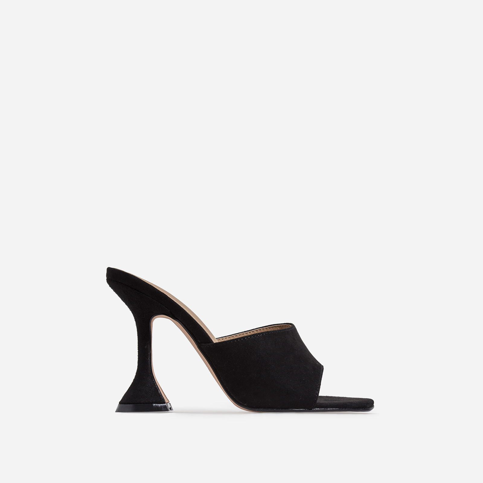 Jordi Peep Square Toe Heel Mule In Black Faux Suede