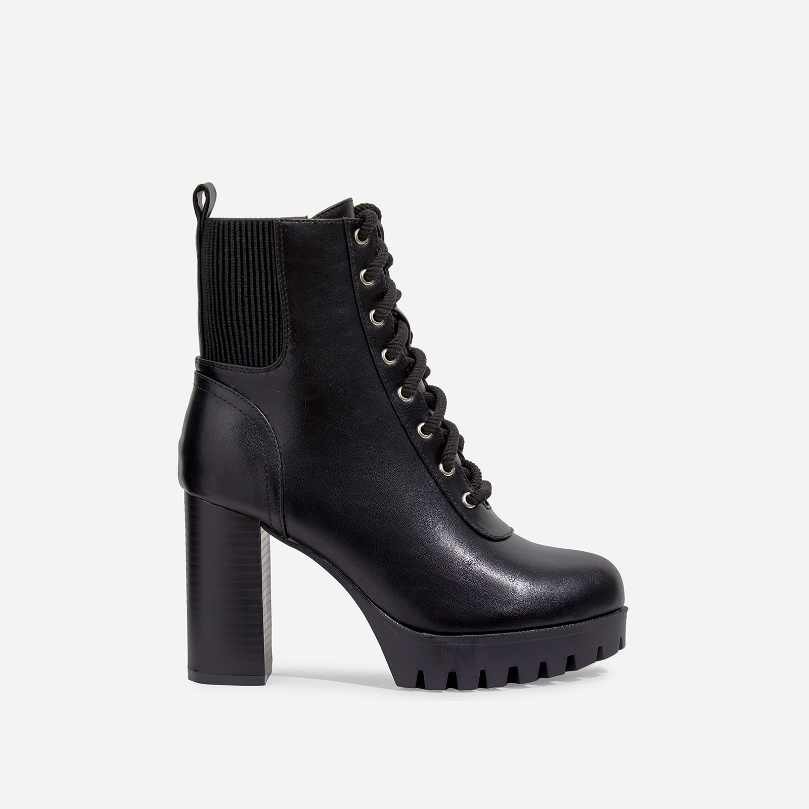 Jorja Platform Lace Up Cleated Sole Ankle Boot In Black Faux Leather