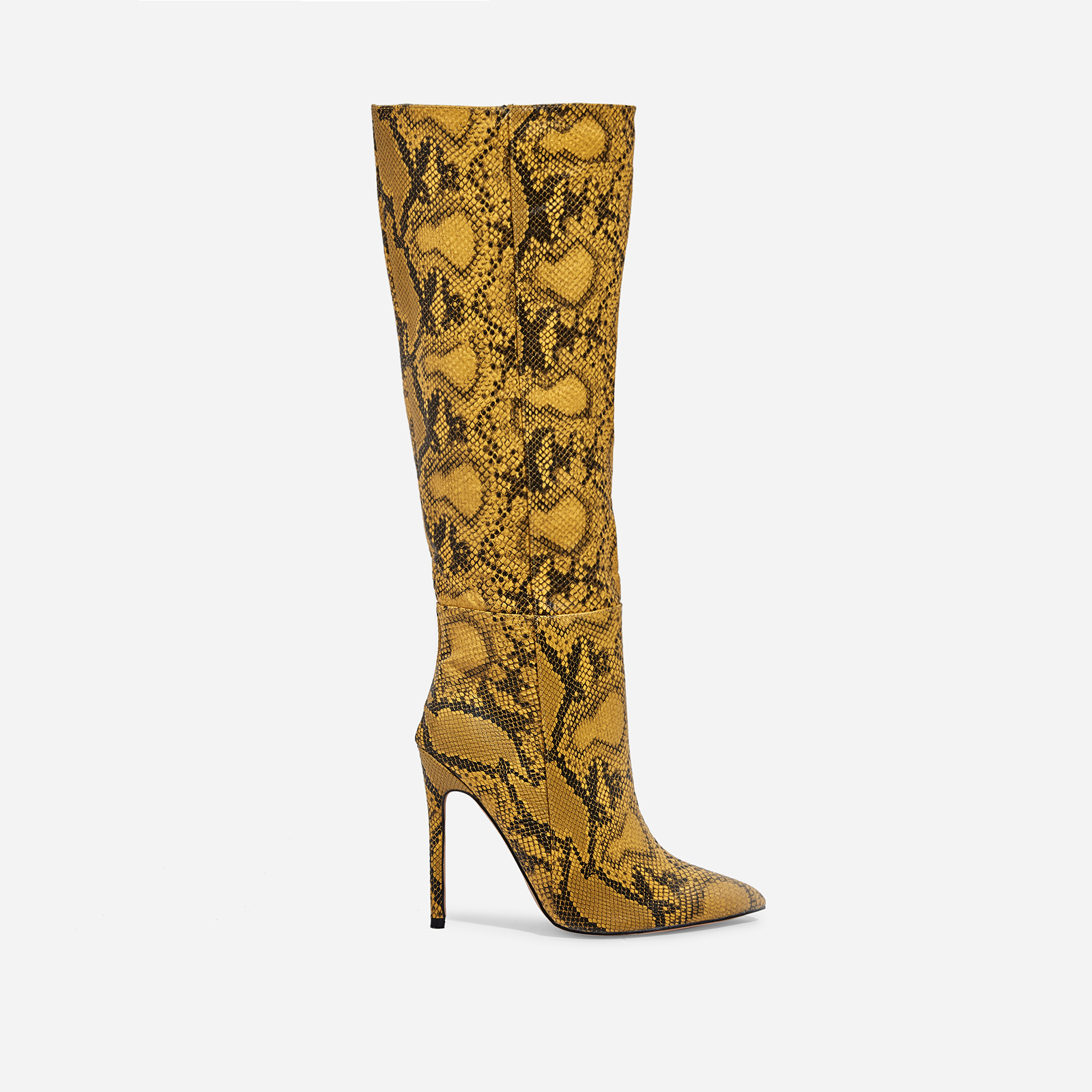 Rose Knee High Long Boot In Yellow Snake Print Faux Leather
