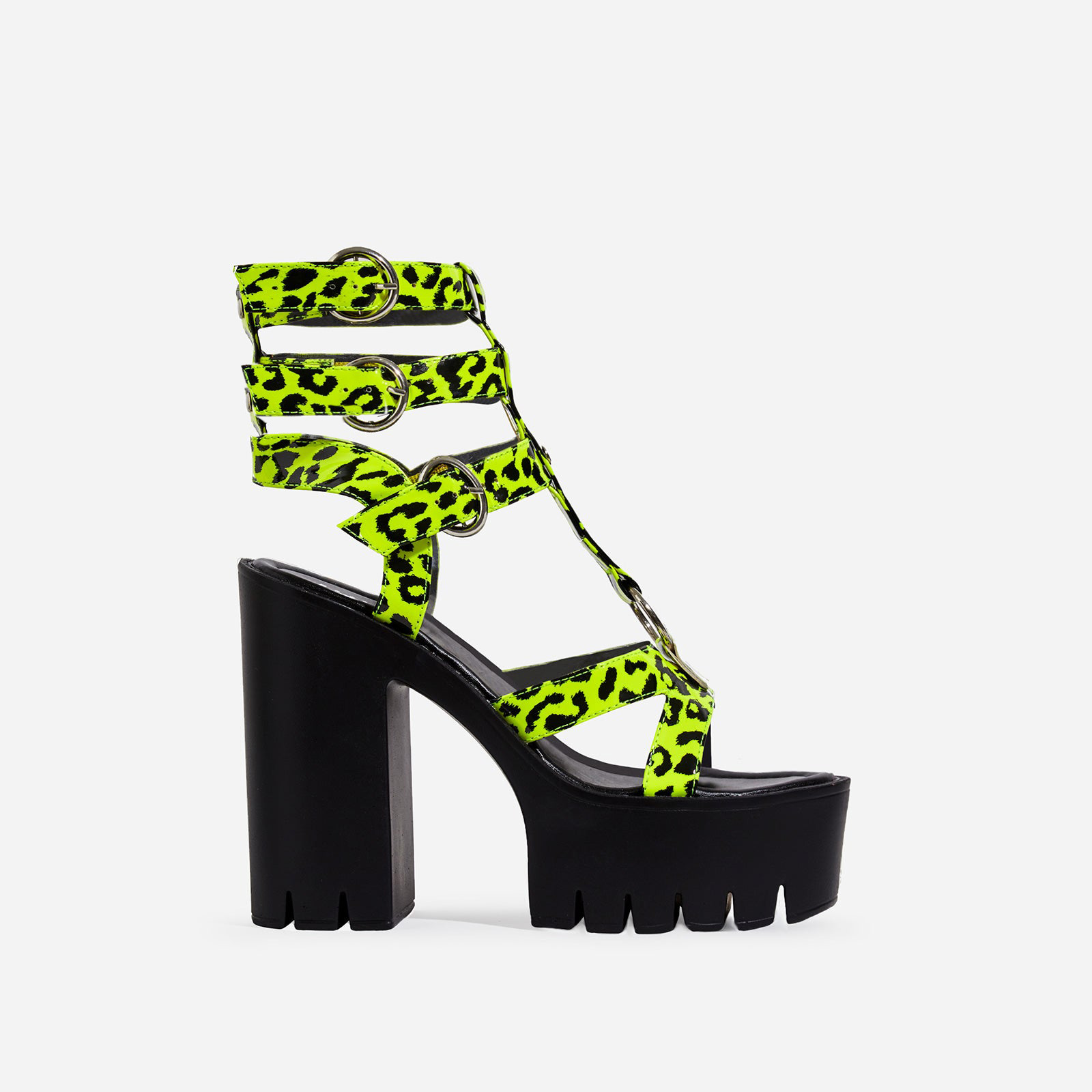 Leap Platform Cut Out Caged Heel In Neon Green Leopard Print Faux Leather