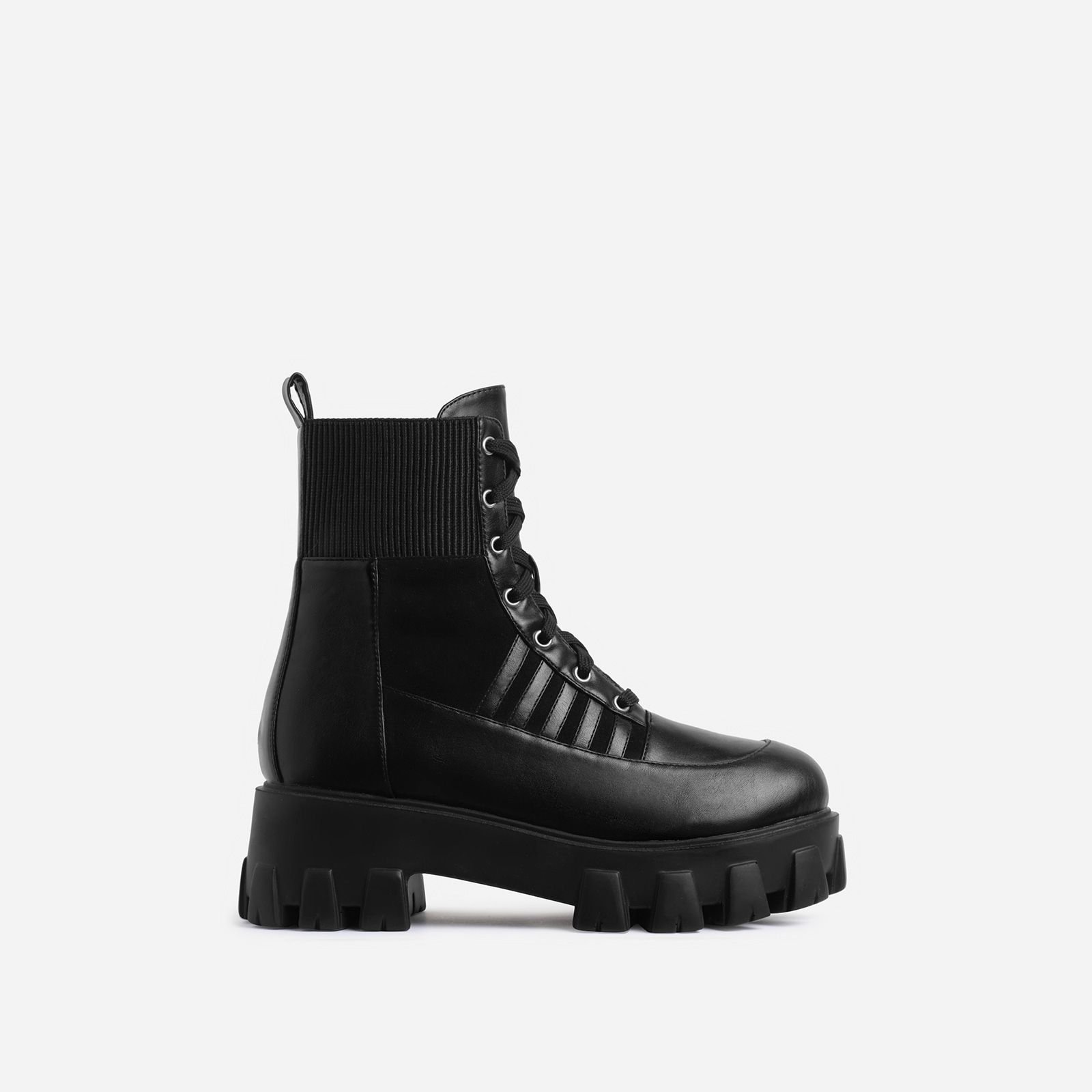 Francis Chunky Sole Stripe Detail Lace Up Ankle Biker Boot In Black Faux Leather