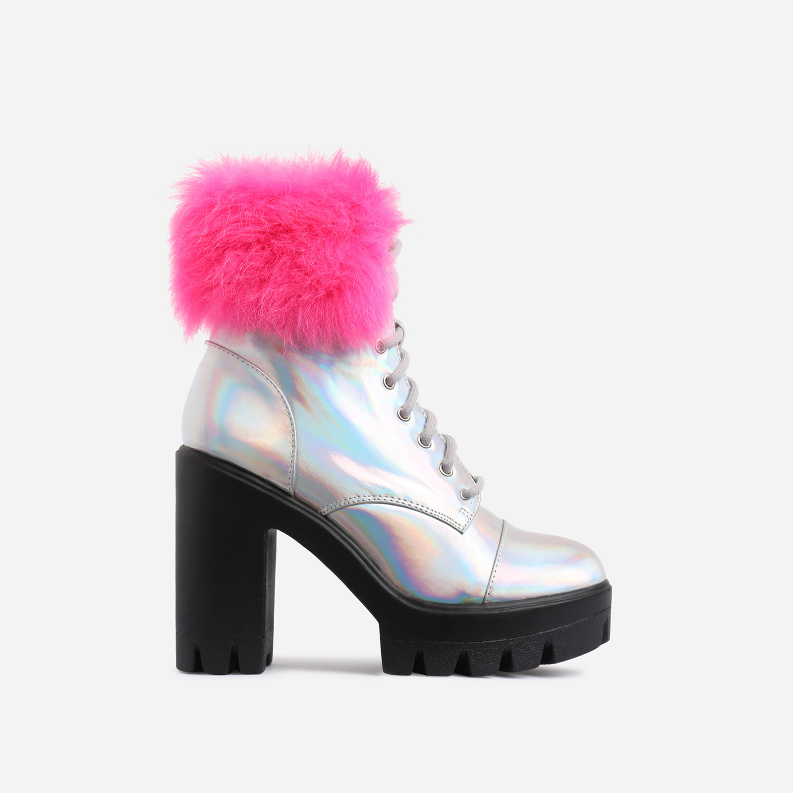 Toasty Pink Faux Fur Lace Up Block Heel Ankle Biker Boot In Silver Holographic Faux Leather