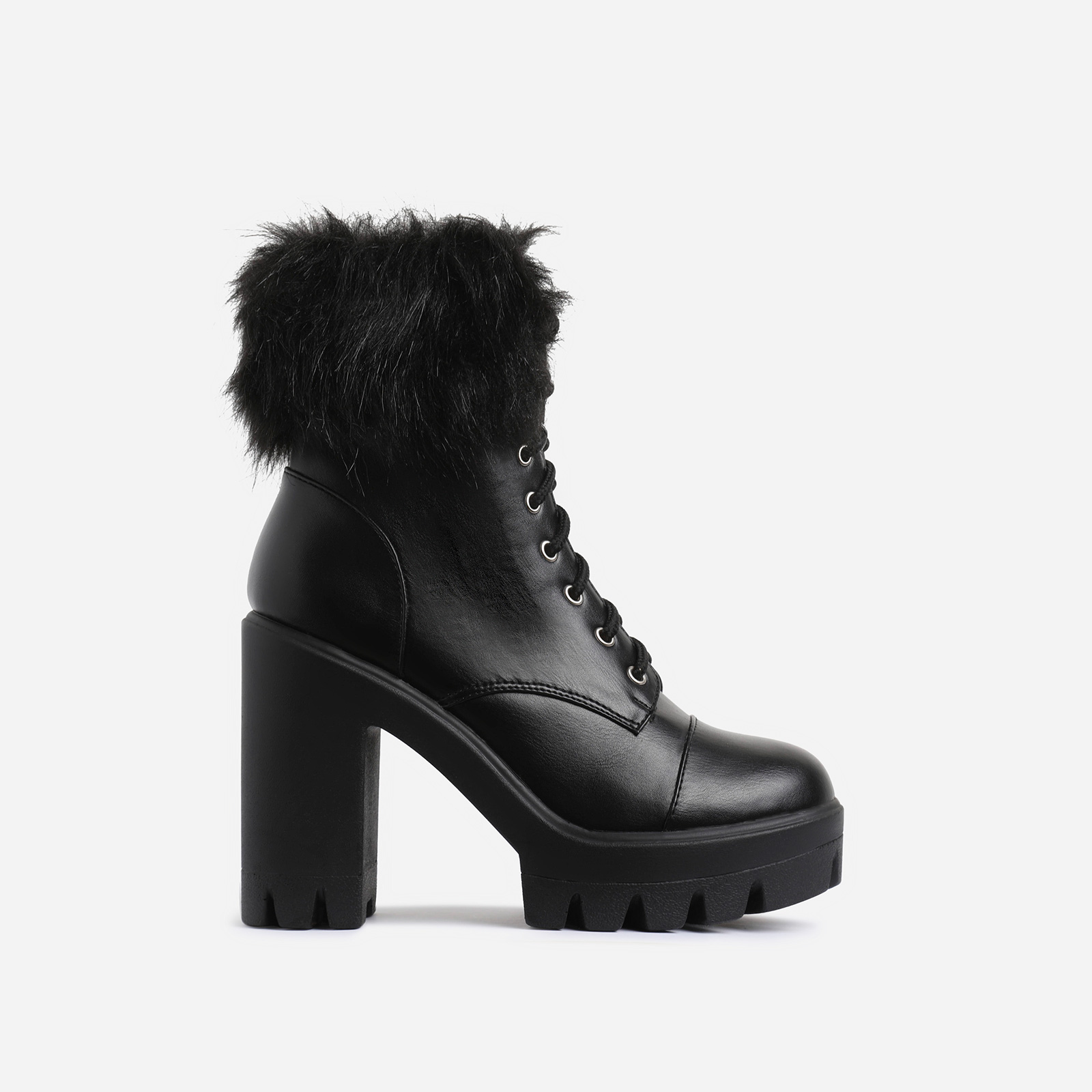 Toasty Lace Up Fluffy Block Heel Ankle Biker Boot In Black Faux Leather
