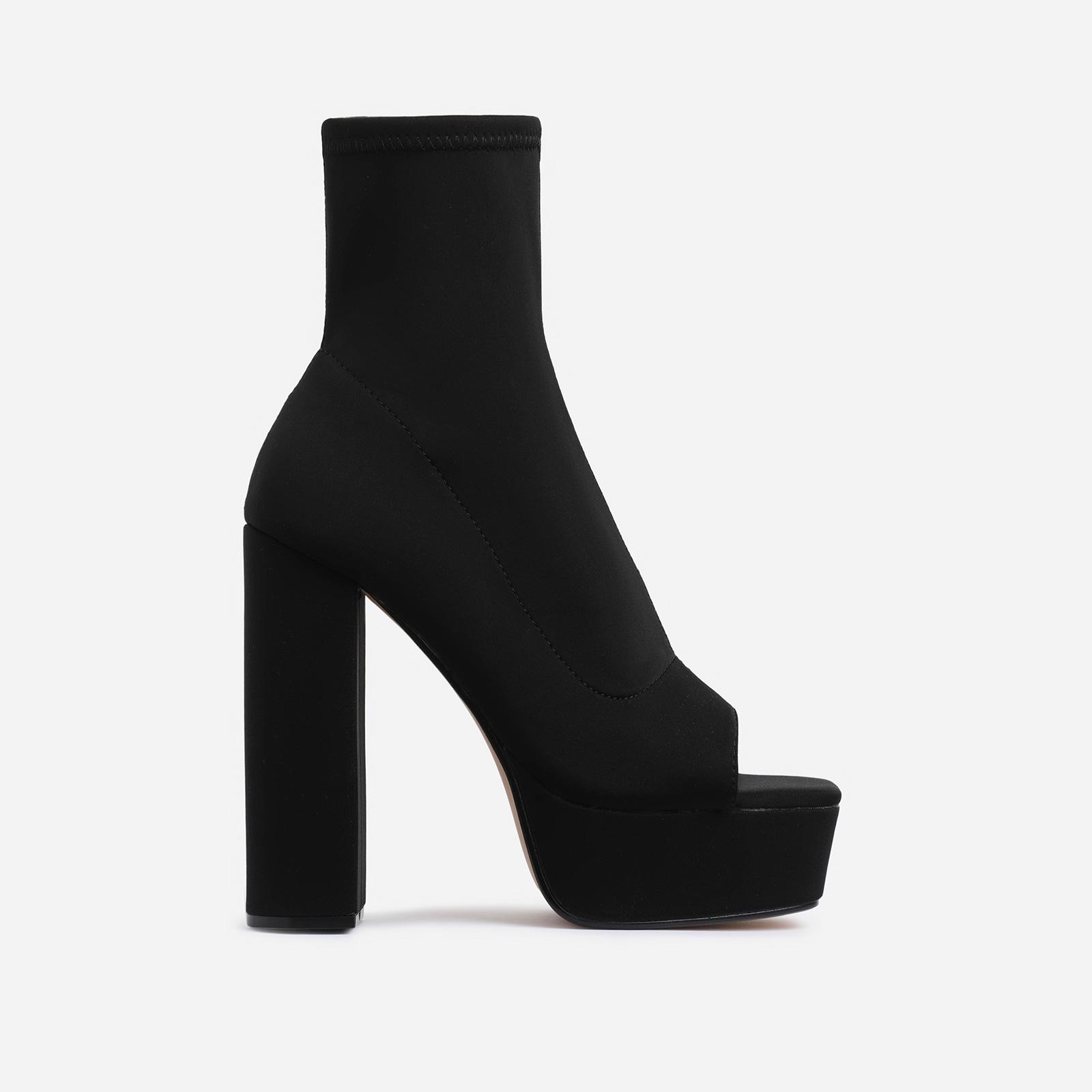 Barbara Platform Square Peep Toe Block Heel Ankle Sock Boot In Black Lycra