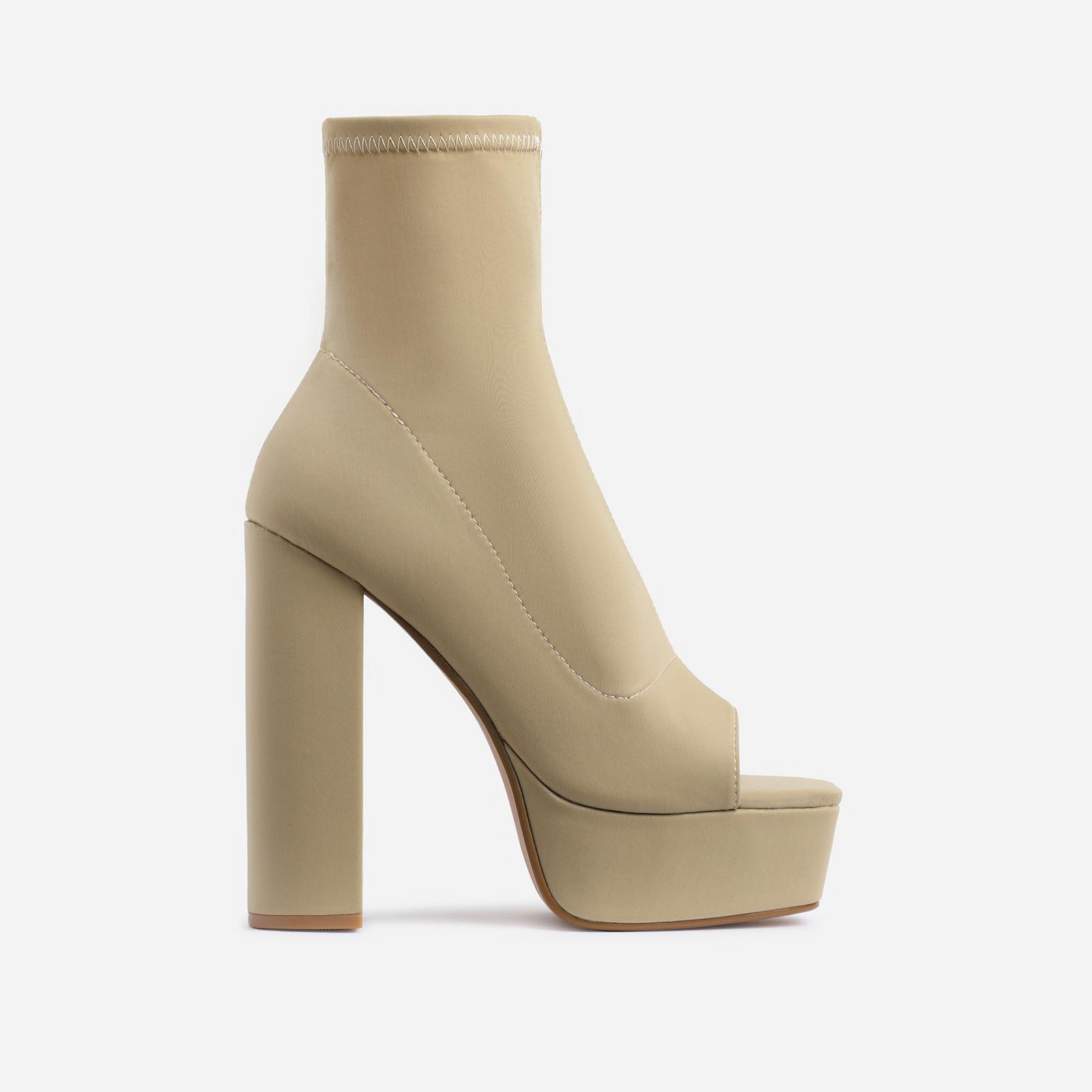 Barbara Platform Square Peep Toe Block Heel Ankle Sock Boot In Nude Lycra