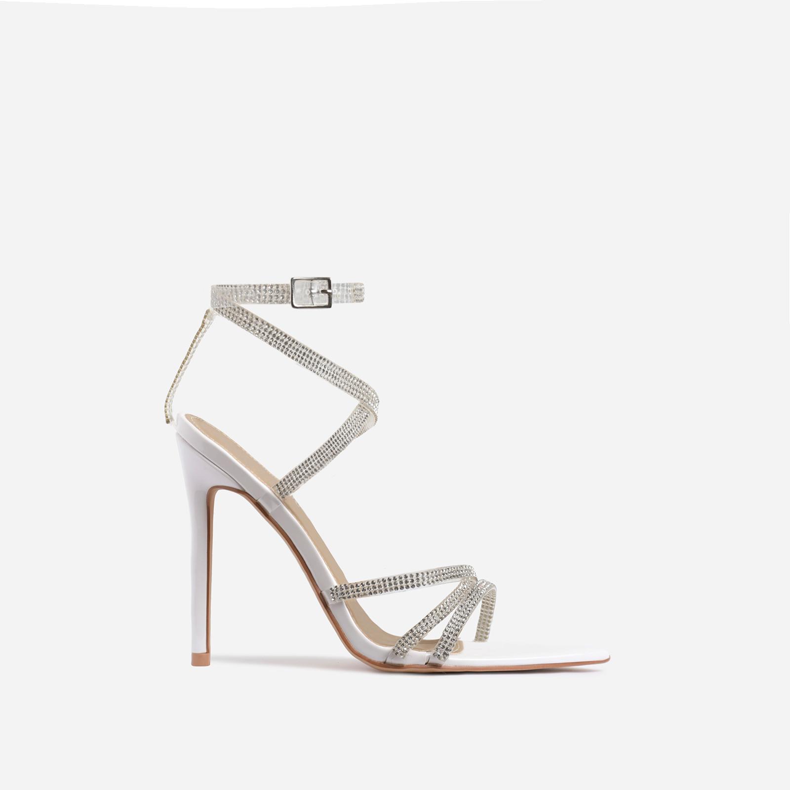 Precious Diamante Detail Pointed Toe Heel In White Patent