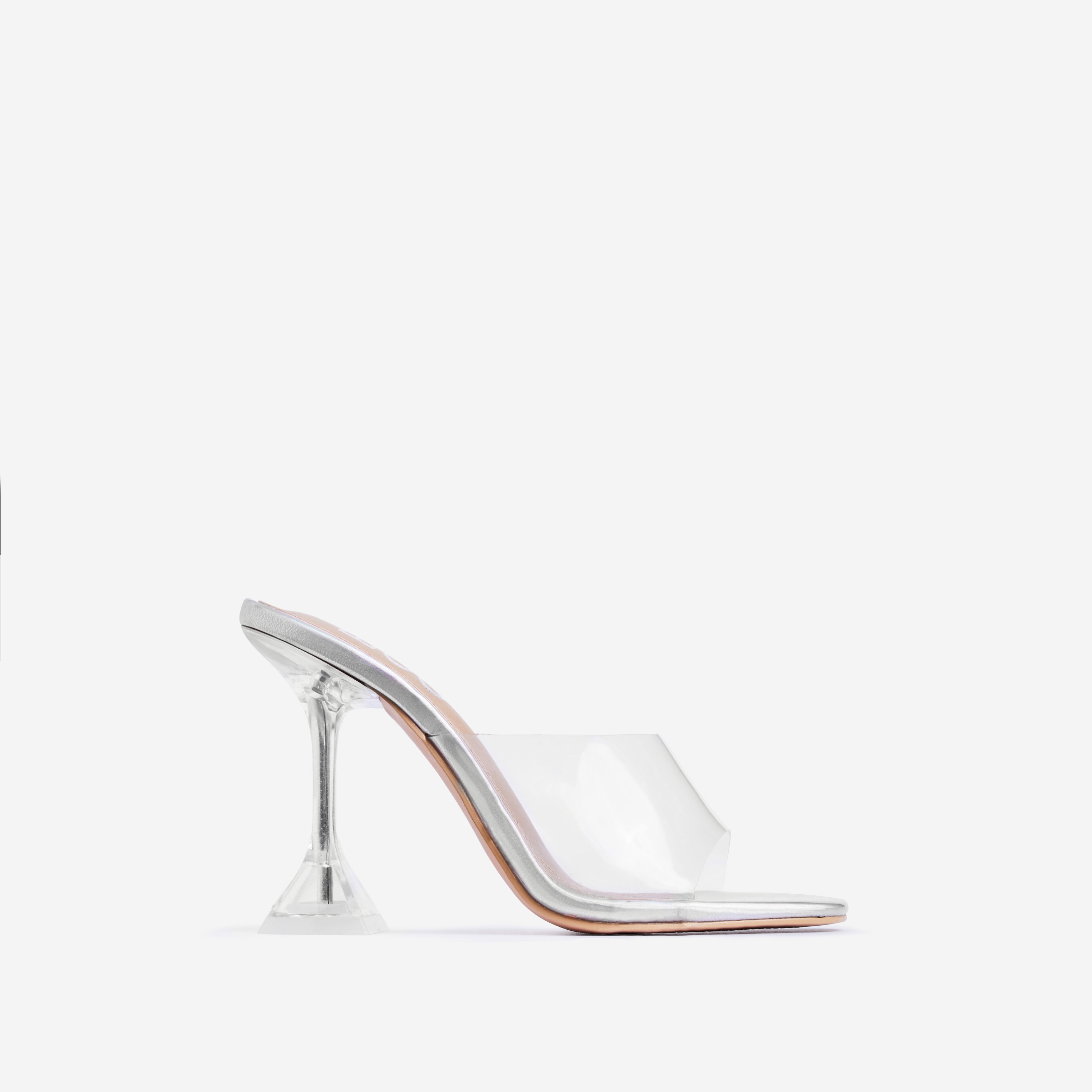 Lila Square Toe Perspex Clear Heel Mule In Silver Holographic Faux Leather