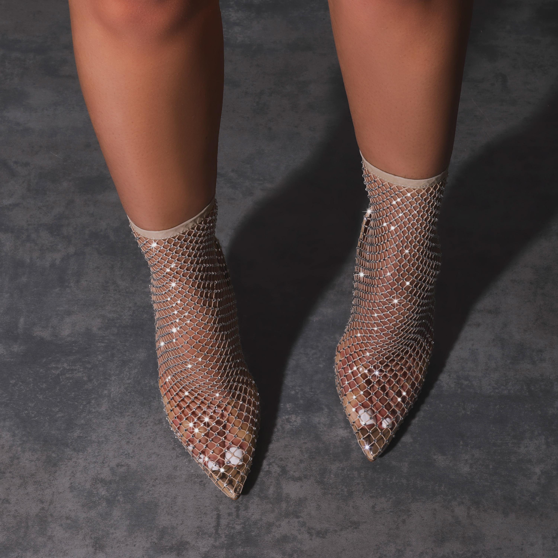 Vakili Diamante Detail Fishnet Heel In Nude