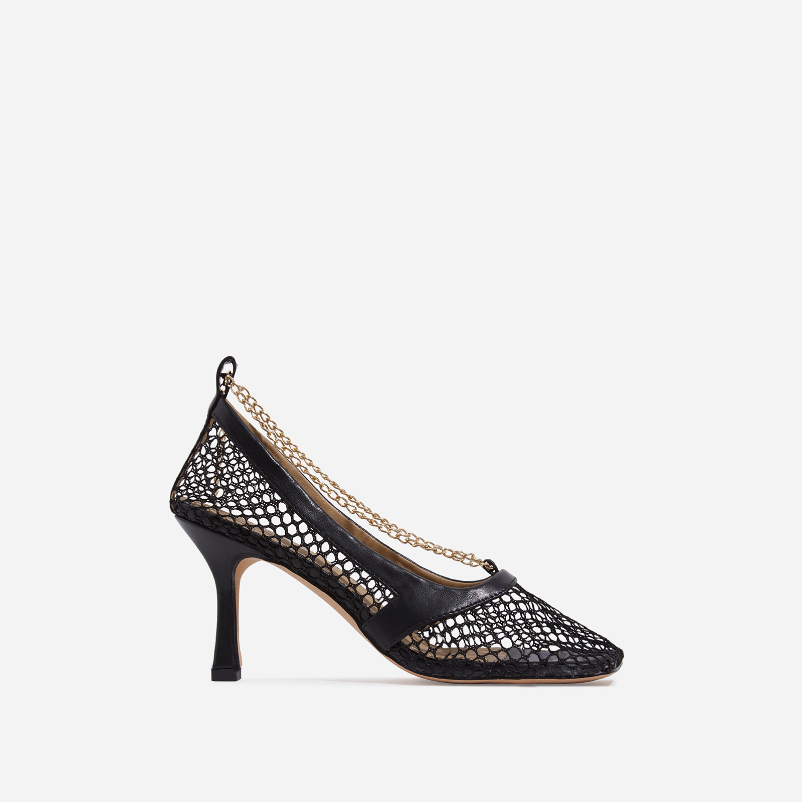 Montag Chain Detail Square Toe Fishnet Court Kitten Heel In Black Faux Leather