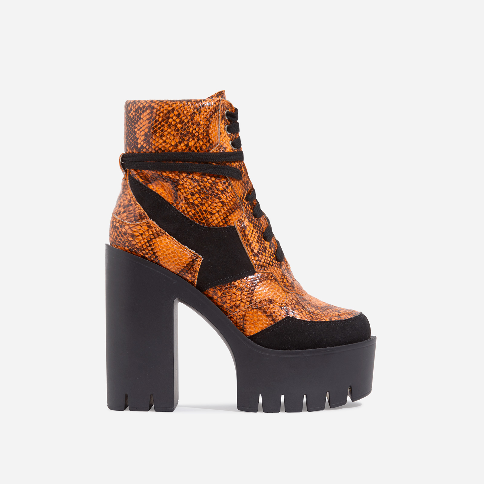 Penni Platform Lace Up Cleated Sole Ankle Bike Boot In Orange Snake Print Faux Leather