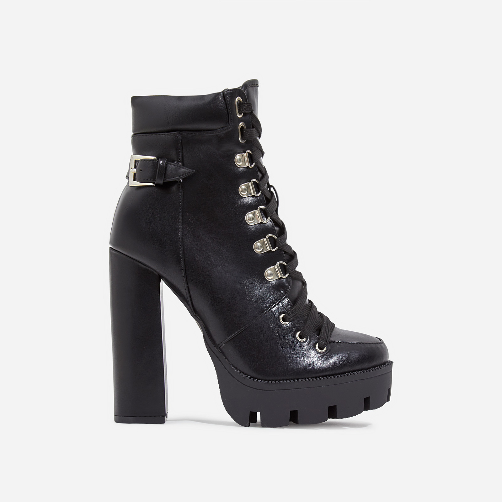 Veera Platform Lace Up Ankle Biker Boot In Black Faux Leather