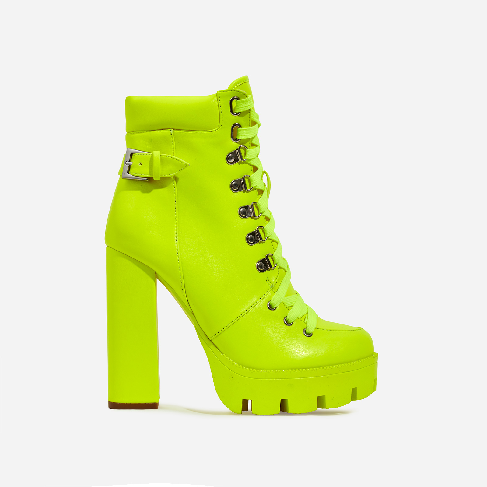 Veera Platform Lace Up Ankle Biker Boot In Neon Lime Green Faux Leather
