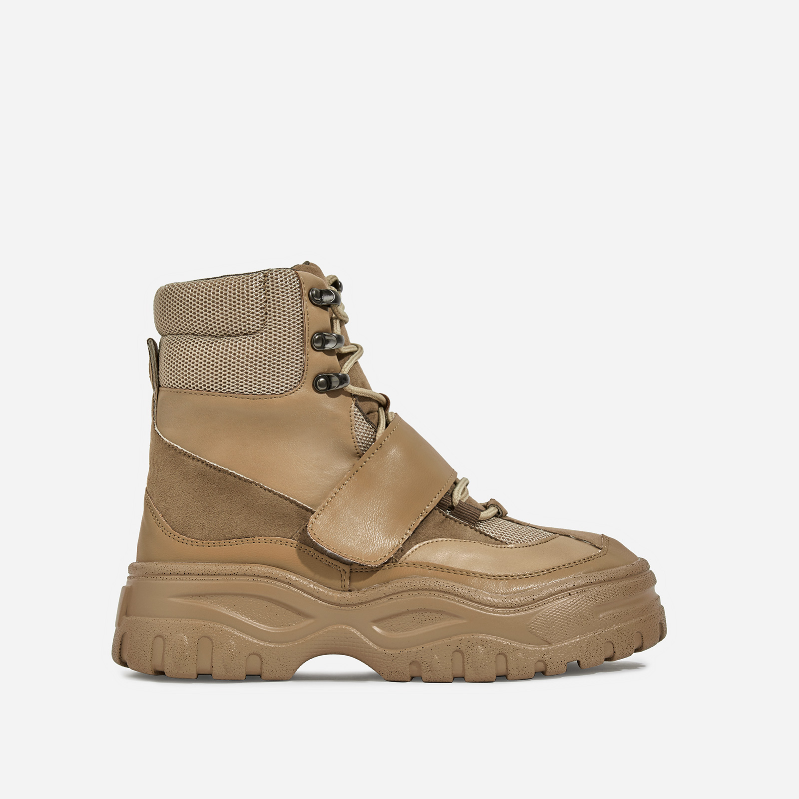 Rover Lace Up Ankle Hiker Boot In Khaki Faux Leather And Suede