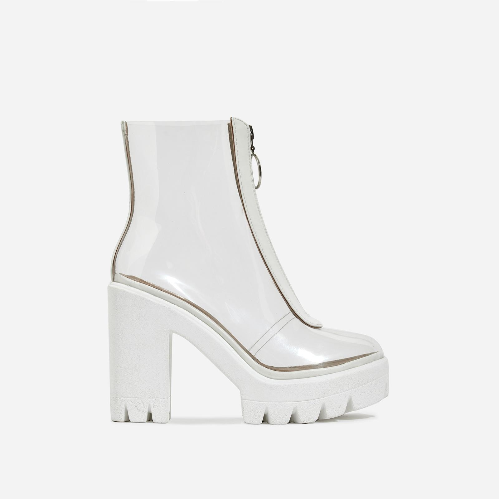 Pool Zip Detail Perspex Platform Ankle Boot In White