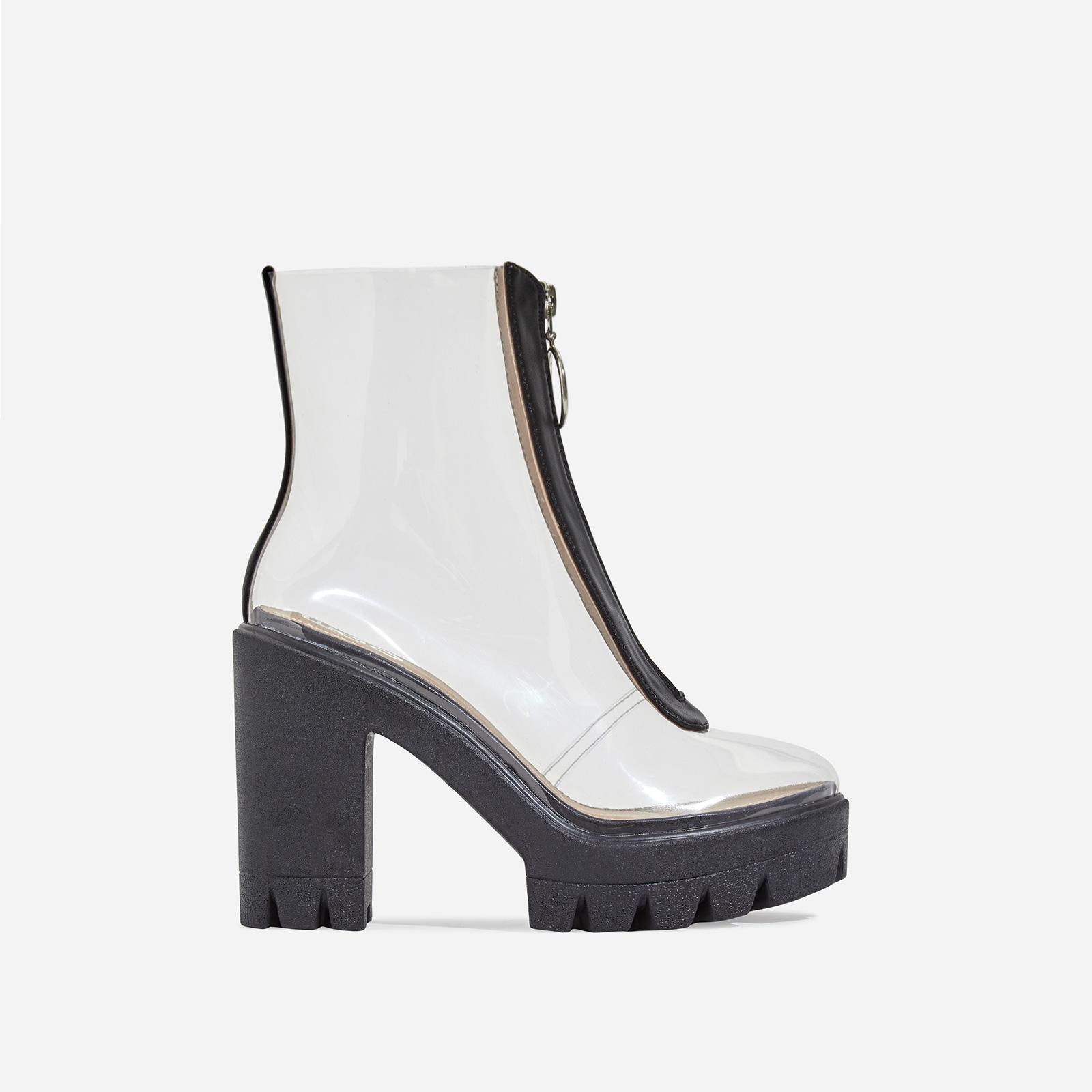 Pool Zip Detail Clear Perspex Platform Ankle Boot In Black