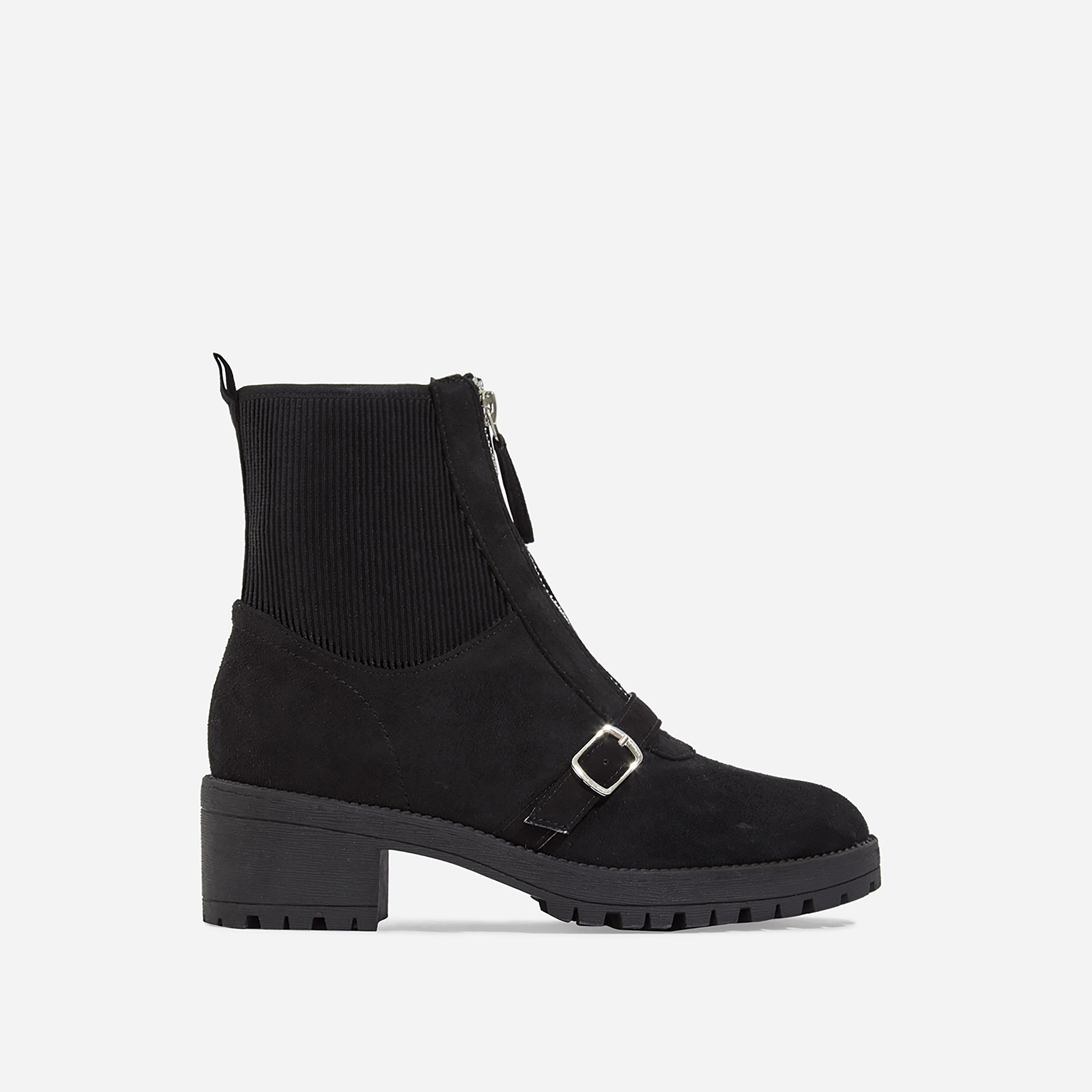 Porter Zip Detail Ankle Biker Boot In Black Faux Suede