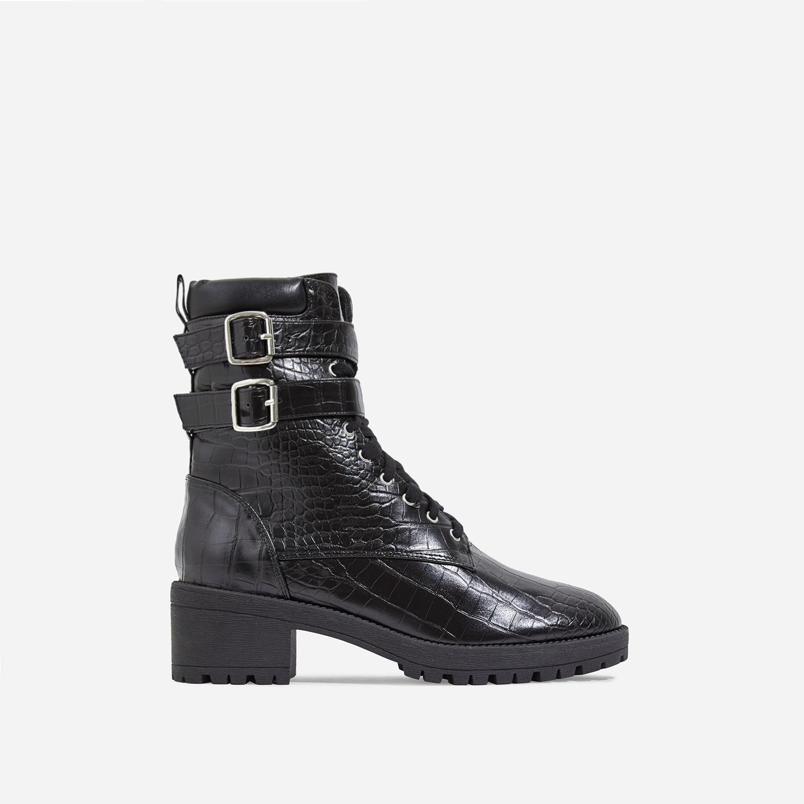 Jovi Lace Up Ankle Biker Boot In Black Croc Print Faux Leather