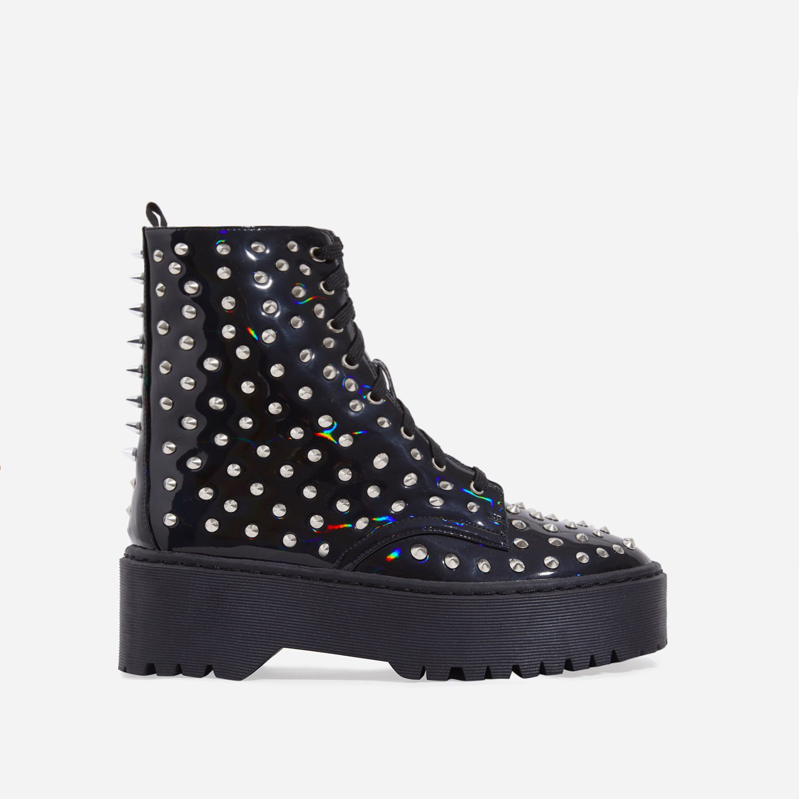 Pixie Studded Detail Lace Up Biker Boot In Black Patent