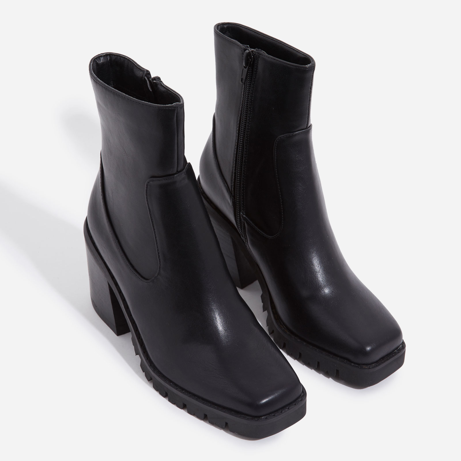 Venza Chunky Sole Western Ankle Boot In Black Faux Leather