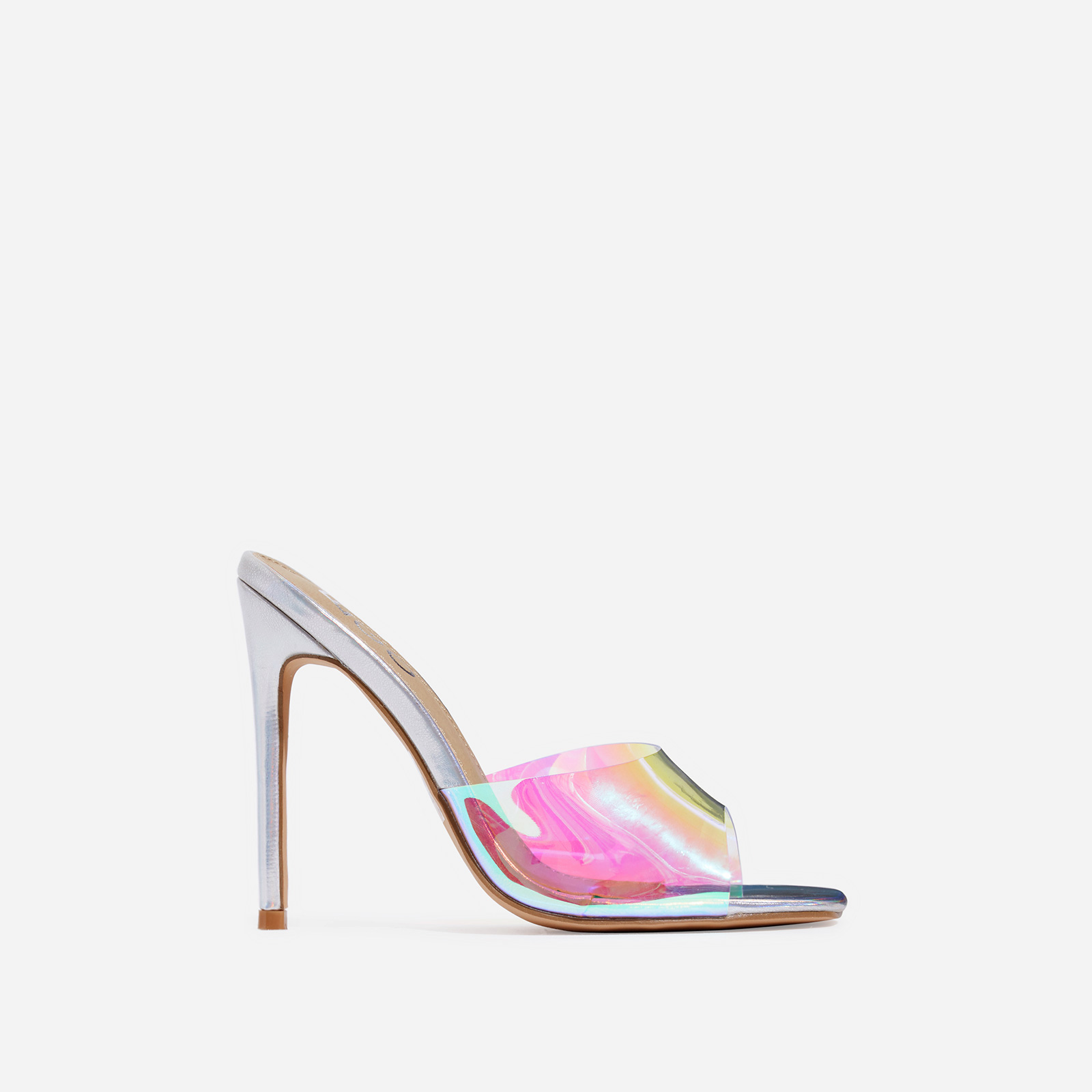 Cyan Square Toe Holographic Perspex Peep Toe Heel Mule In Silver Faux Leather