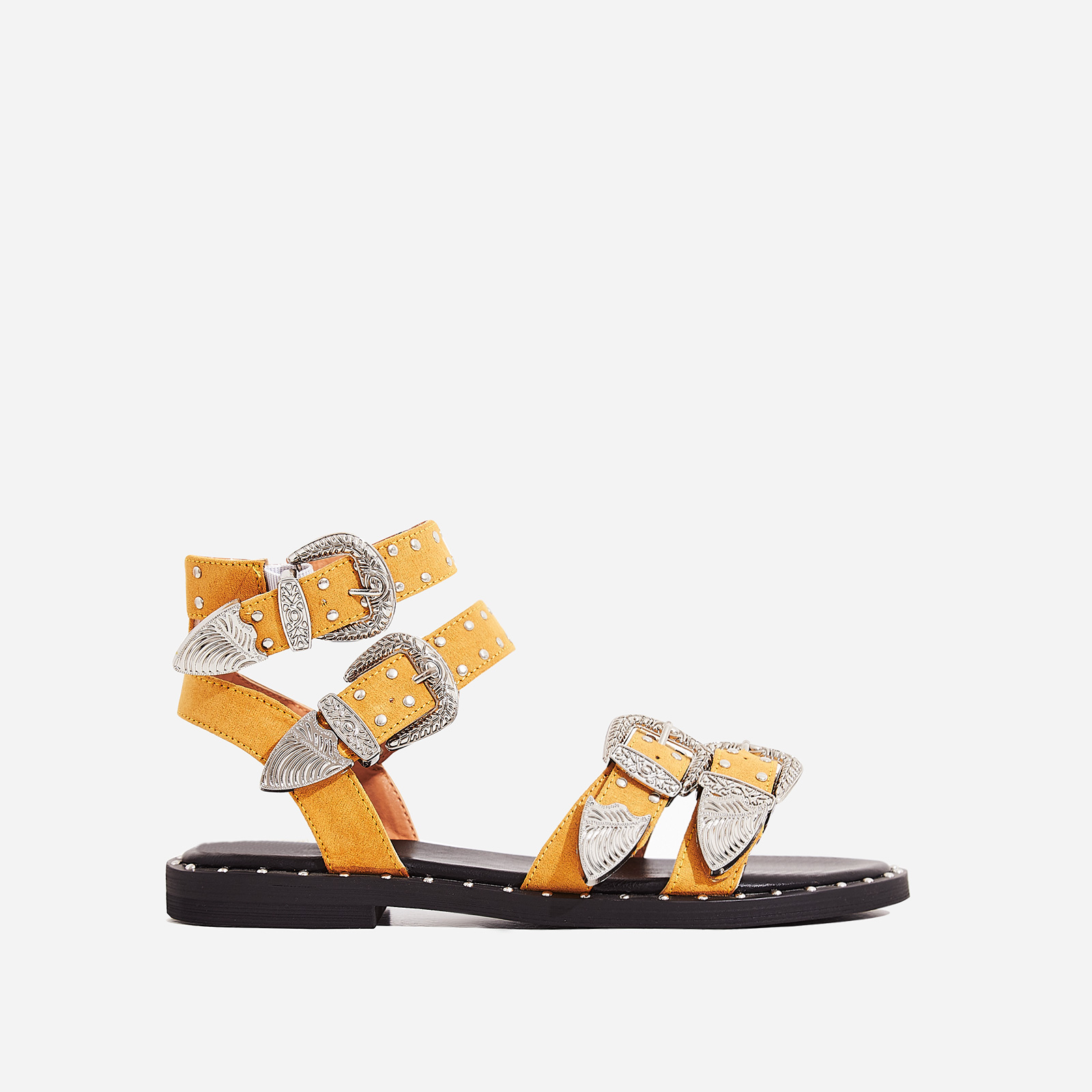 Albie Studded Detail Gladiator Sandal In Yellow Faux Suede