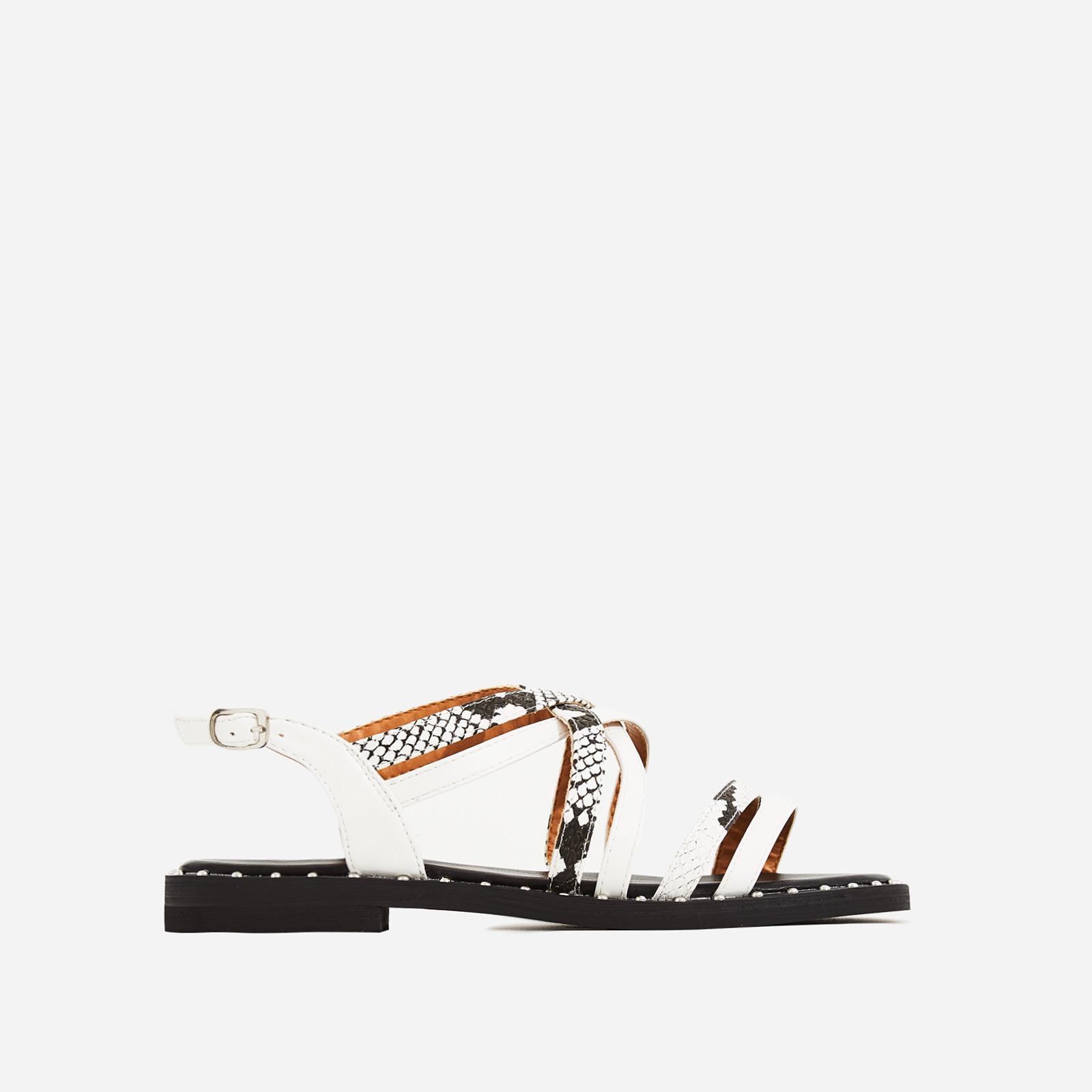 Regan Snake Print Detail Gladiator Sandal In White Faux Leather