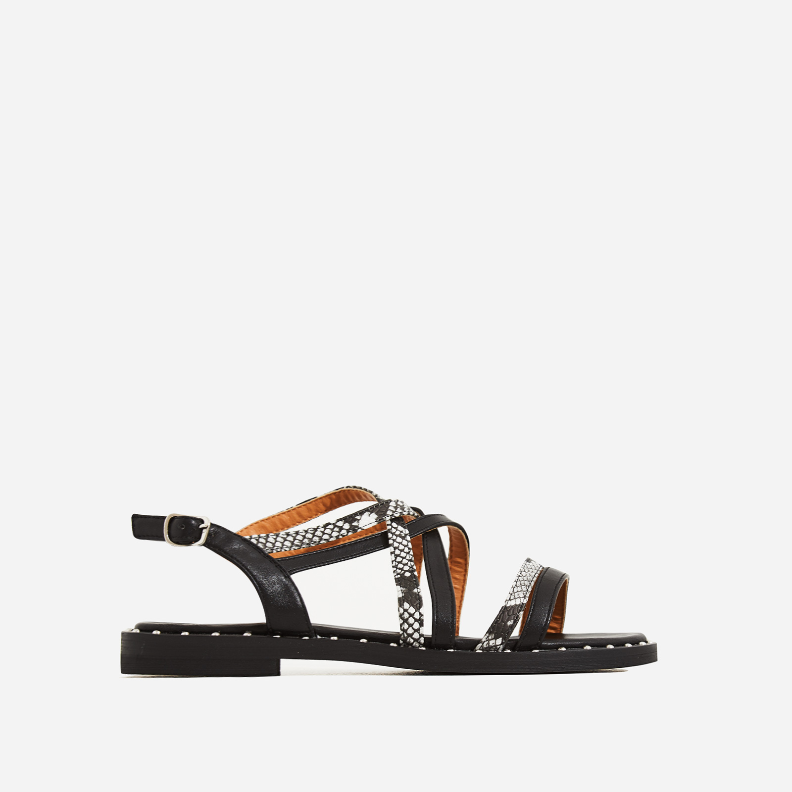 Regan Snake Print Detail Gladiator Sandal In Black Faux Leather