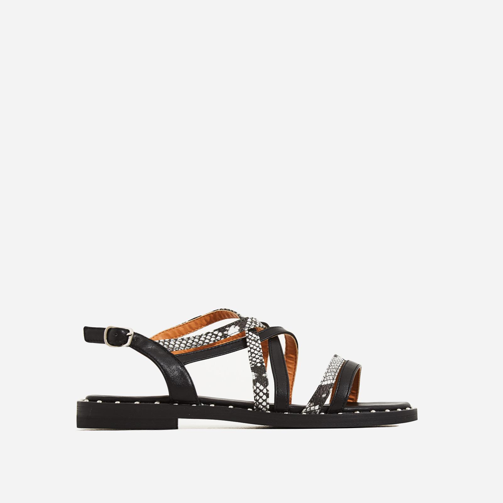 Regan Snake Print Detail Gladiator Sandal In Black Faux Leather