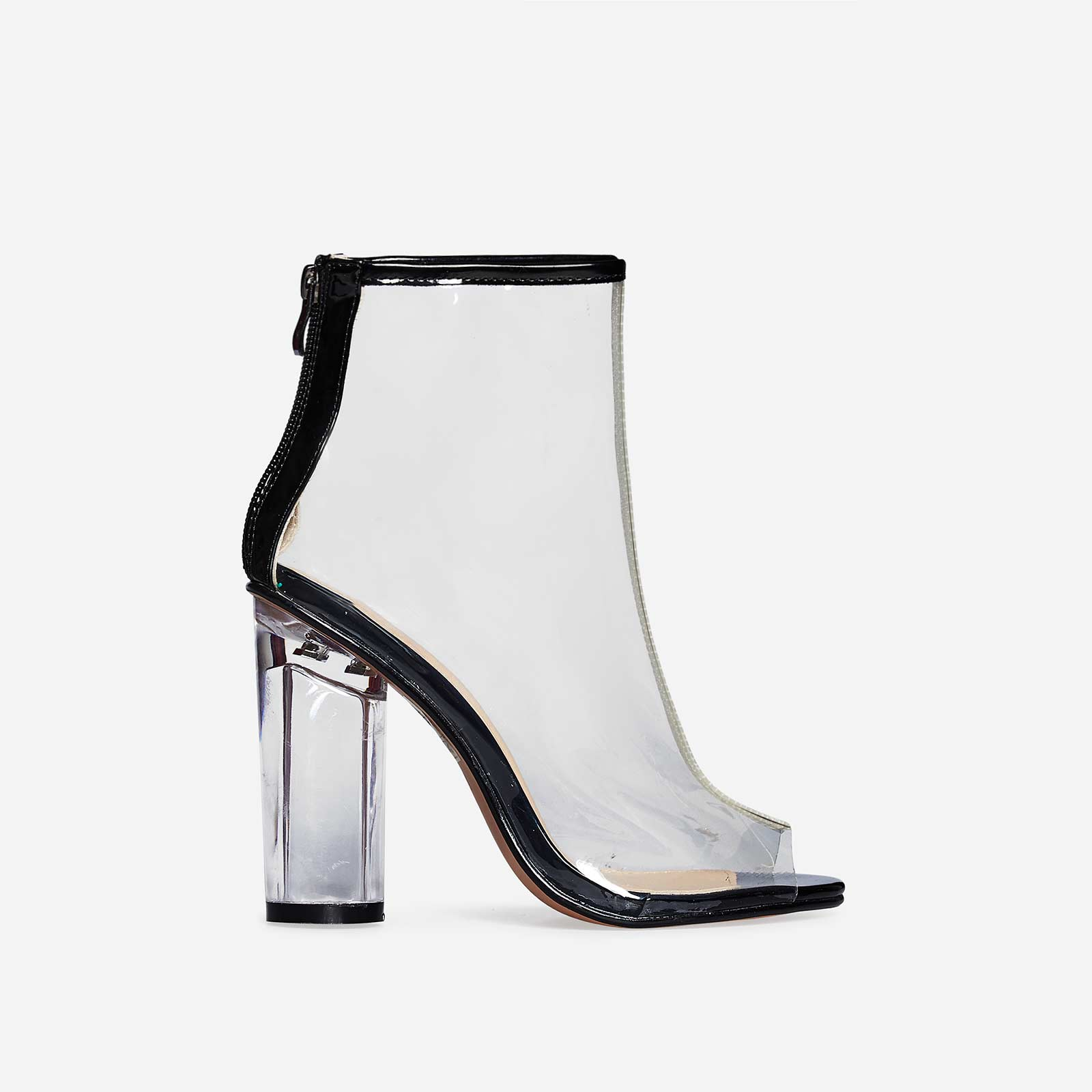 Cate Peep Toe Perspex Ankle Boot In Black Patent