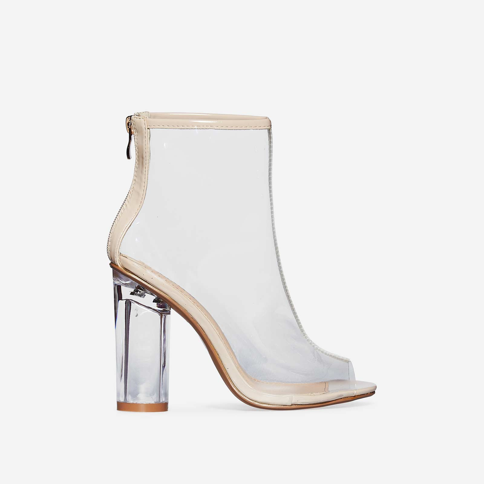Cate Peep Toe Perspex Ankle Boot In Nude Patent