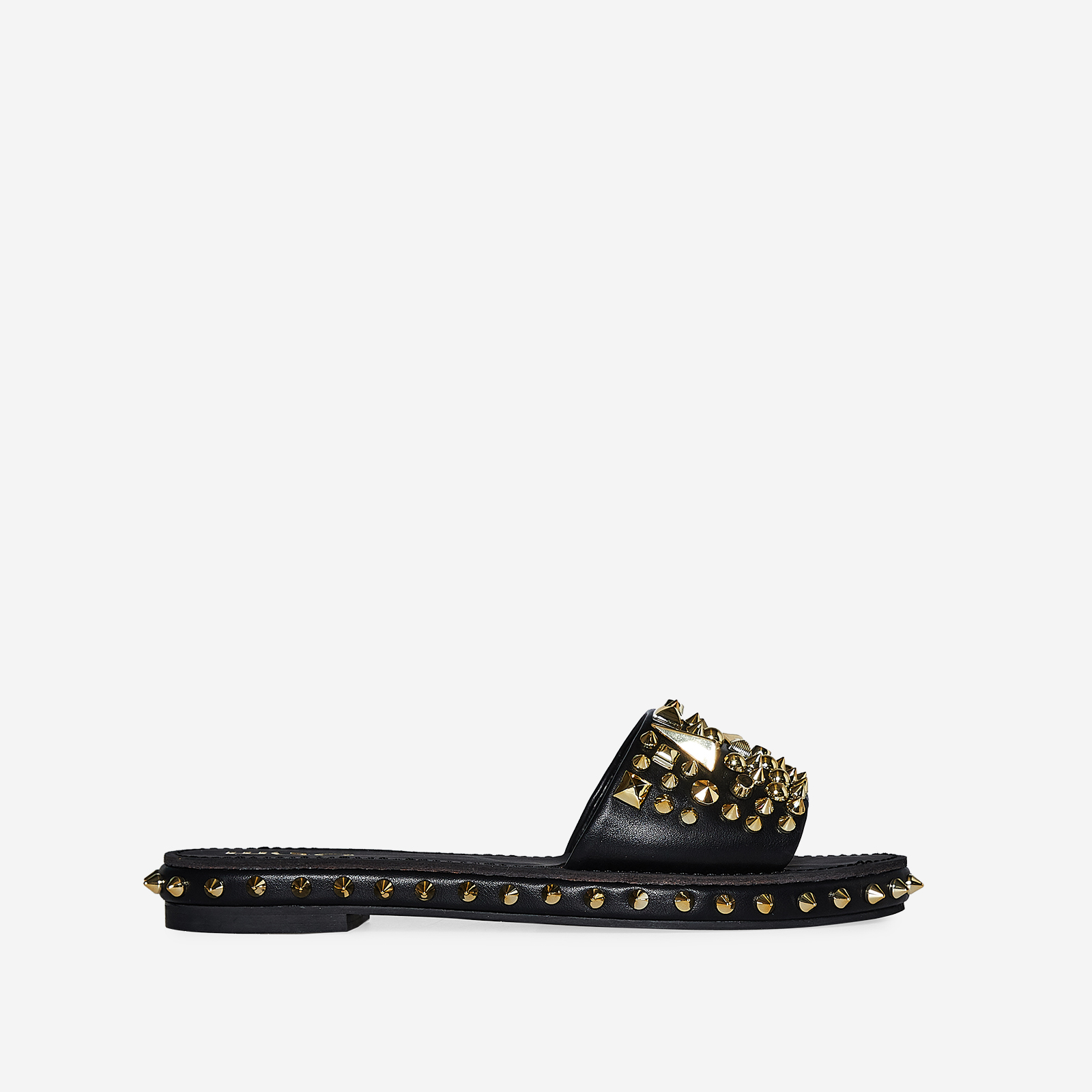 Tonie Gold Studded Detail Slider In Black Faux Leather