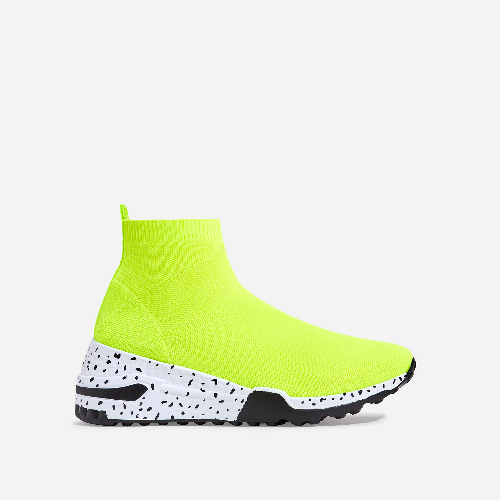 Mint Speckle Print Chunky Sole Sock Trainer In Lime Green Knit