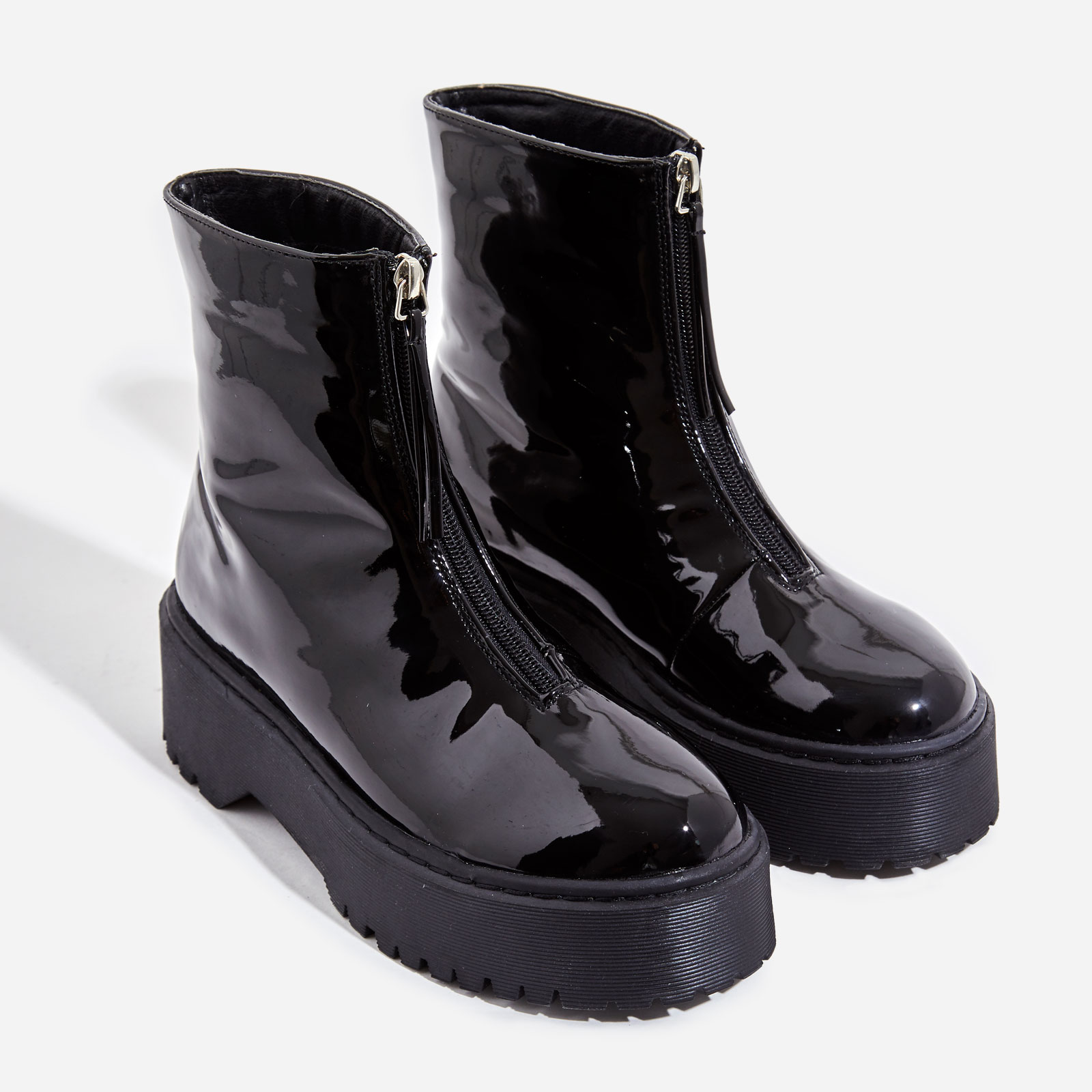 Centre Zip Detail Ankle Biker Boots In Black Patent
