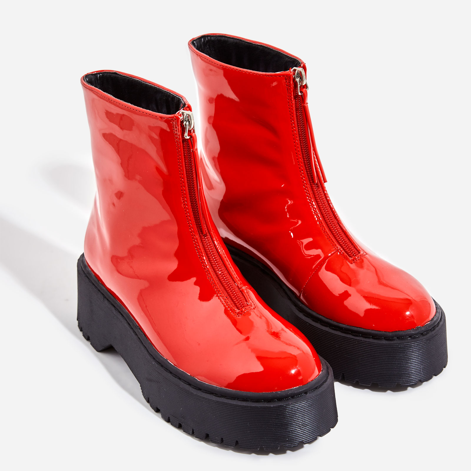 Centre Zip Detail Ankle Biker Boots In Red Patent