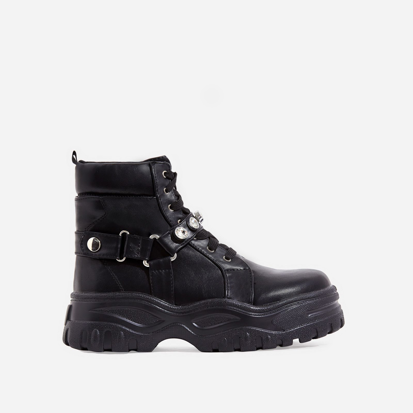Buxton Gem Detail Chunky Sole Ankle Biker Boot In Black Faux Leather