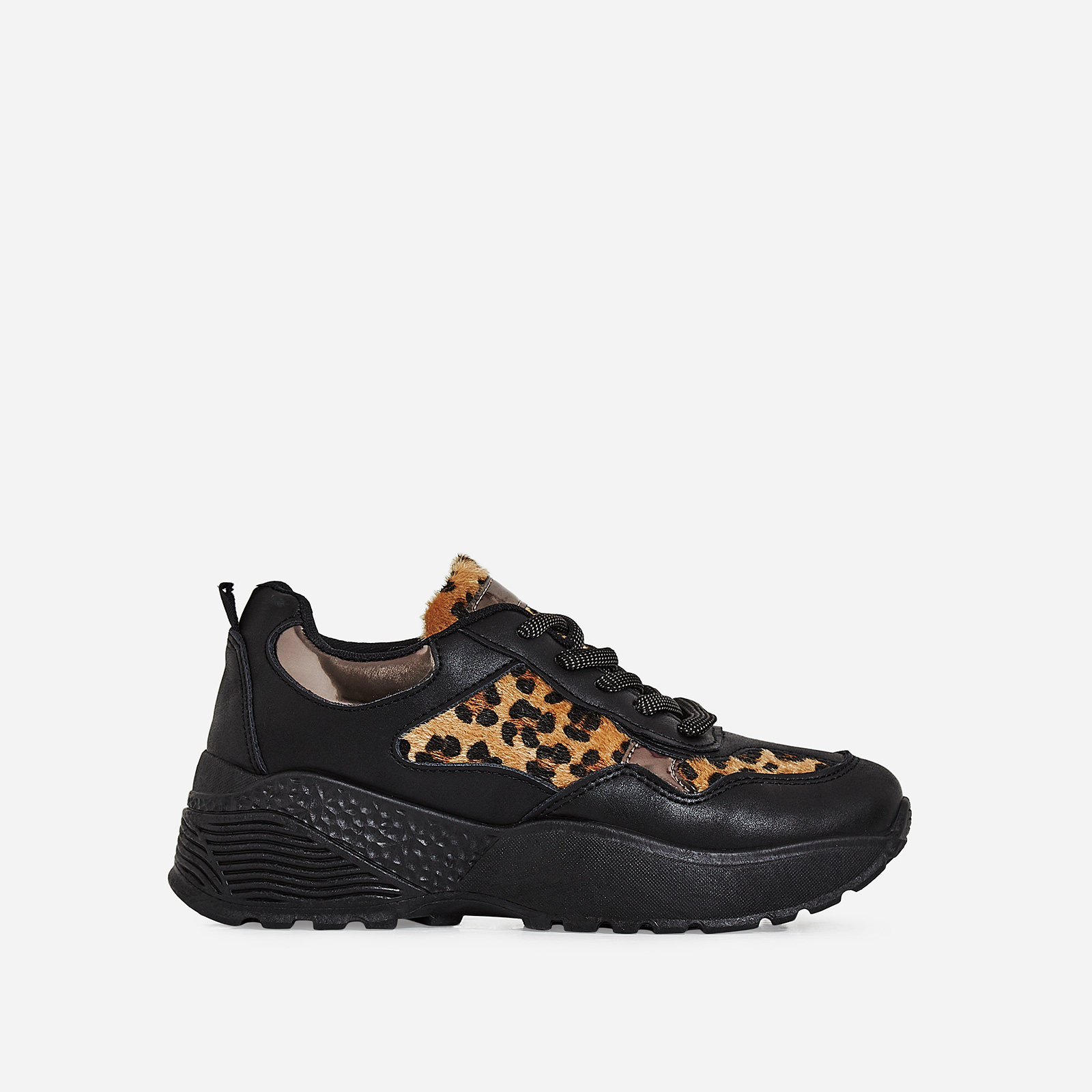 Nahla Chunky Sole Leopard Print  Trainer In Black Faux Leather