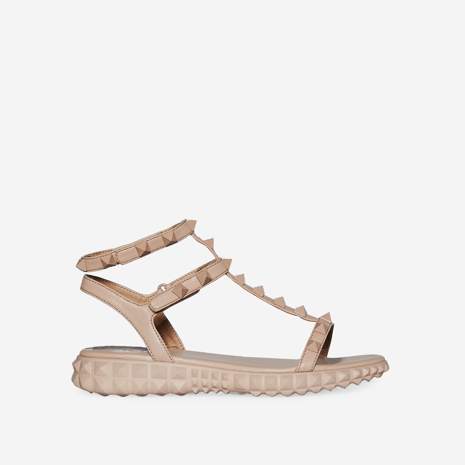 Hydra Studded Detail Gladiator Sandal In Nude Faux Leather
