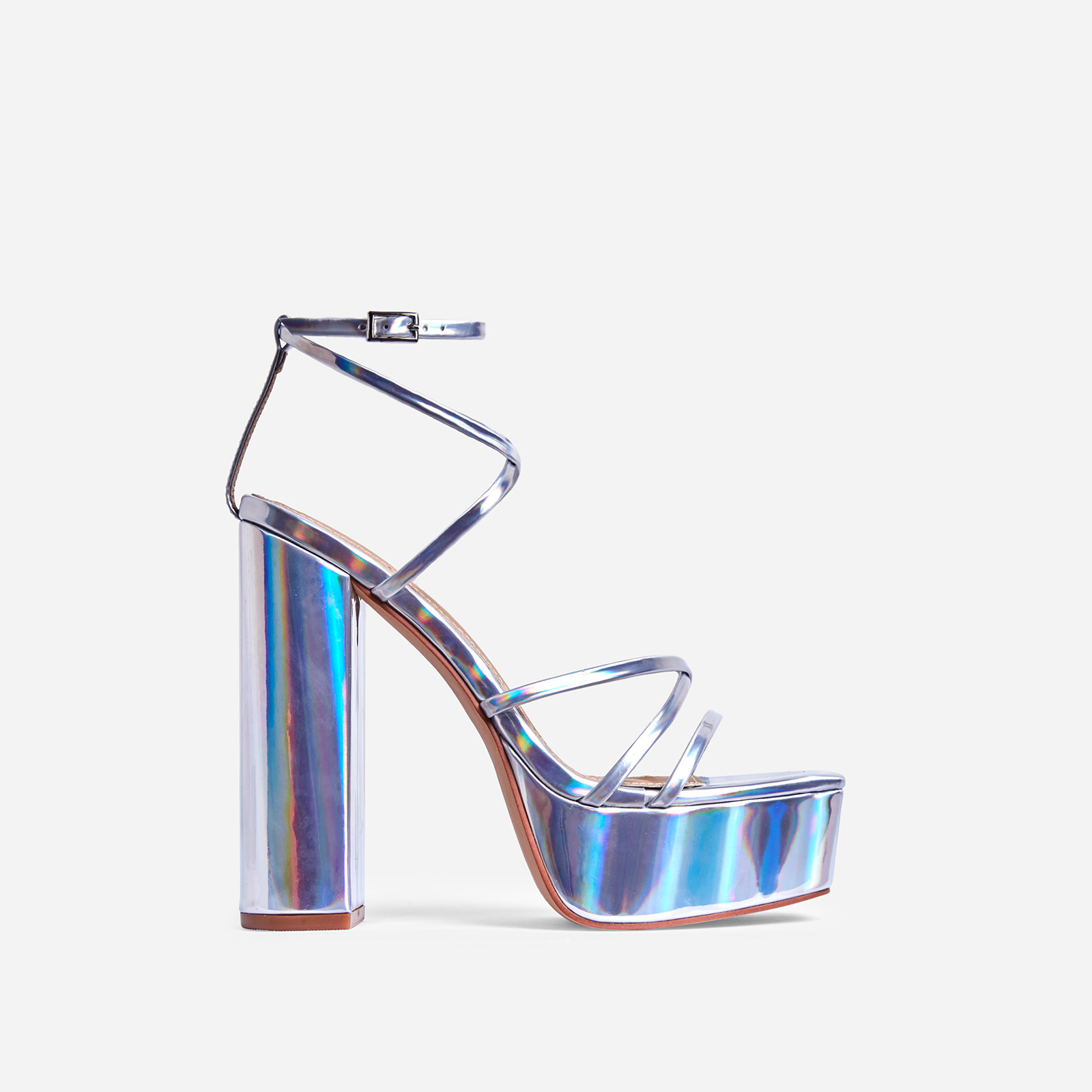 Leona Square Toe Platform Block Heel In Silver Holographic Patent