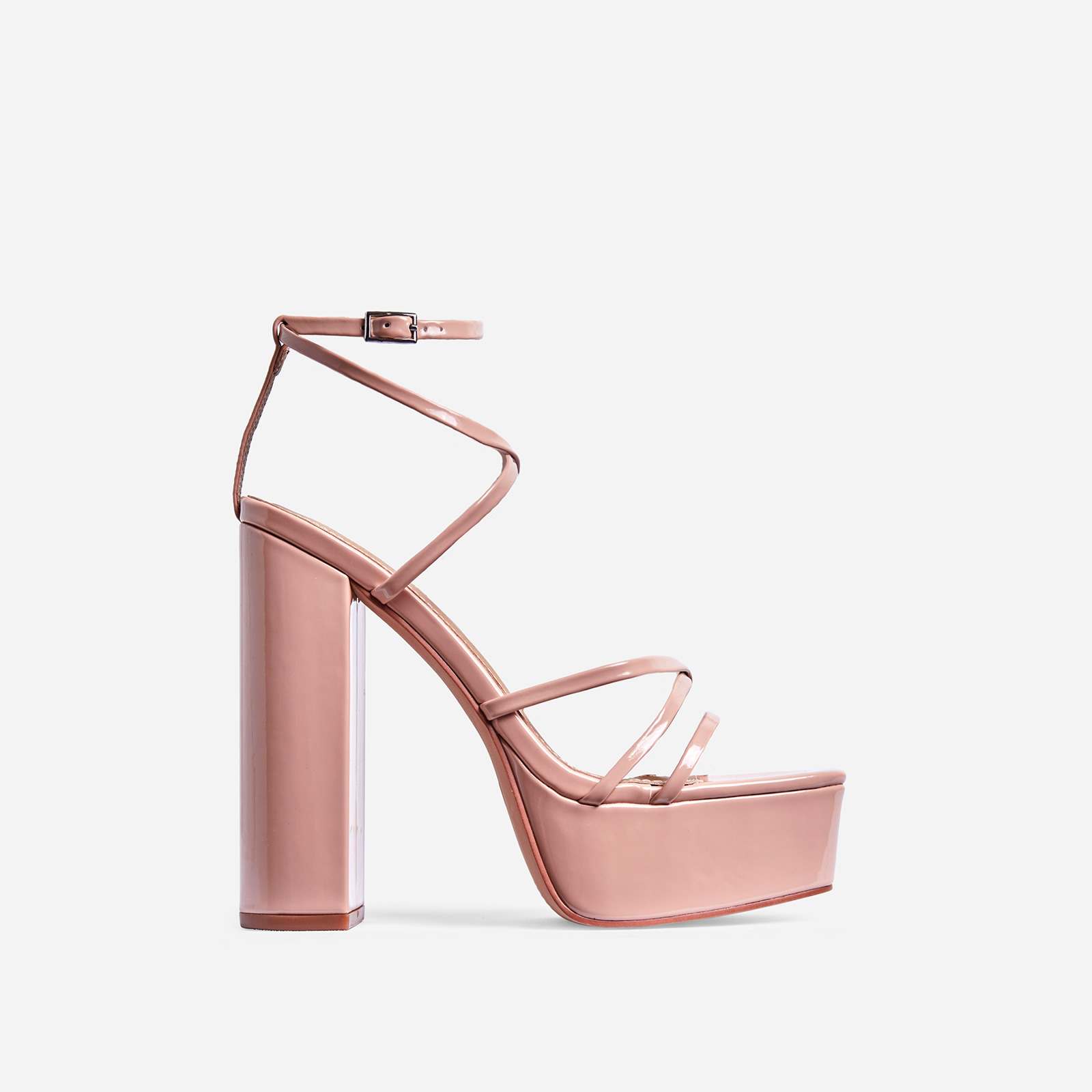 Leona Square Toe Platform Block Heel In Nude Patent