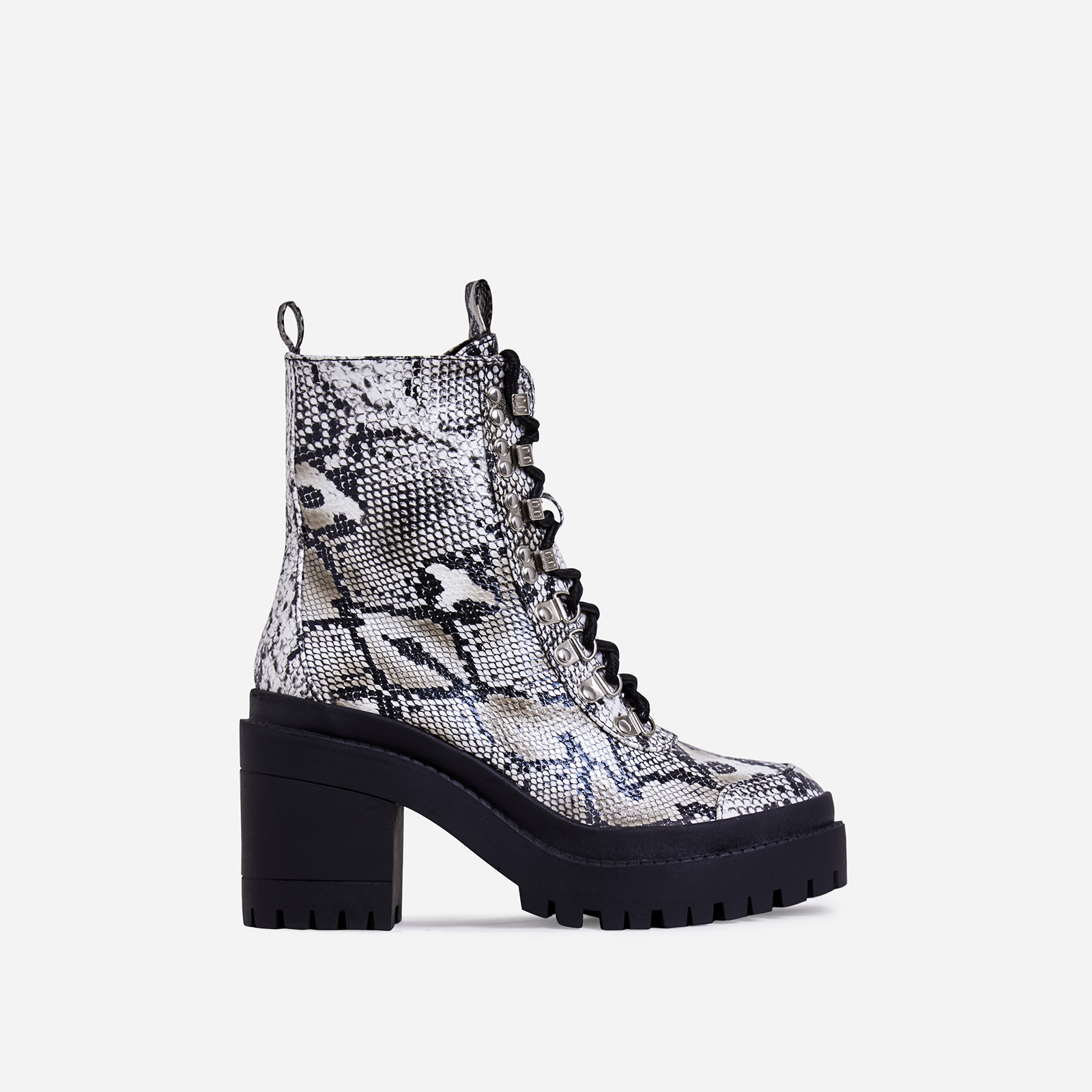 Maura Chunky Sole Lace Up Ankle Biker Boot In Nude Snake Print Faux Leather