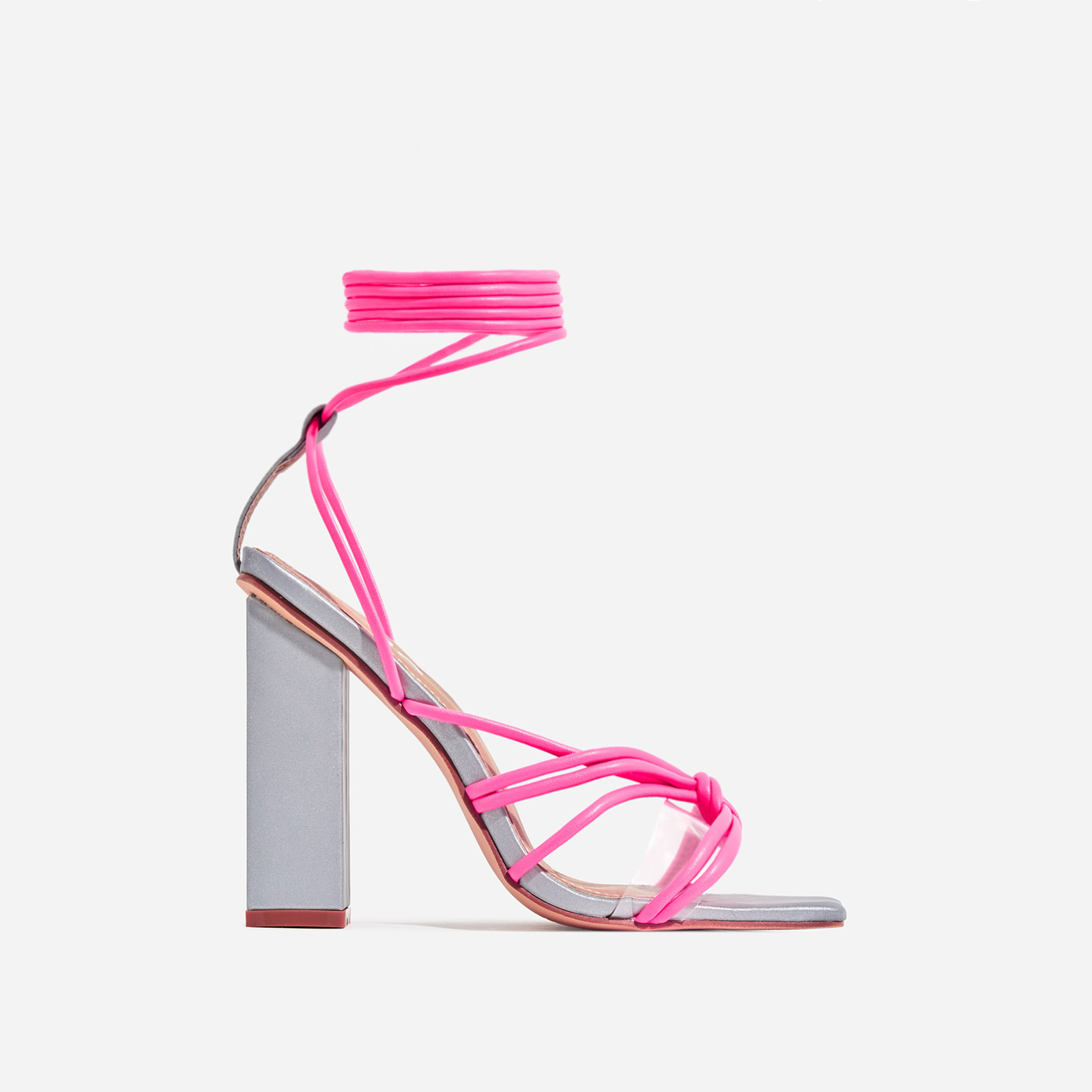 Neima Lace Up Square Toe Perspex Block Heel In Reflective Silver And Pink Faux Leather